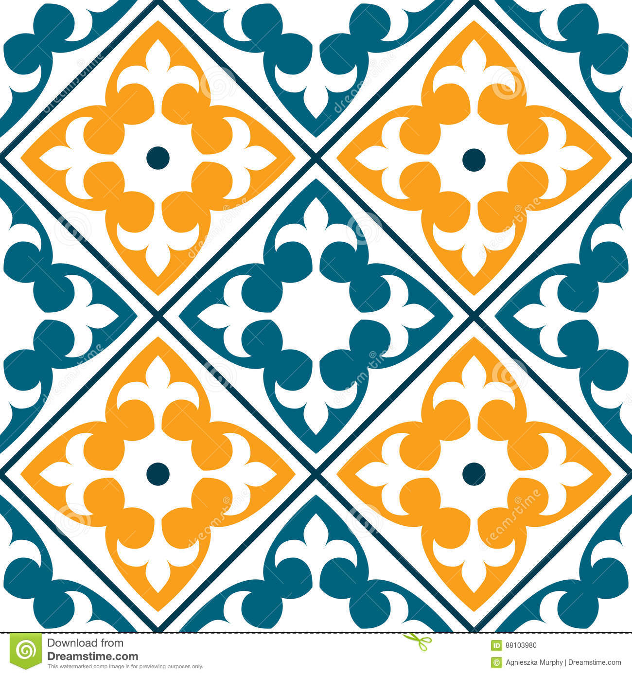 Spanish Tile Pattern, Portuguese Or Moroccan Tiles Design, Seamless ...