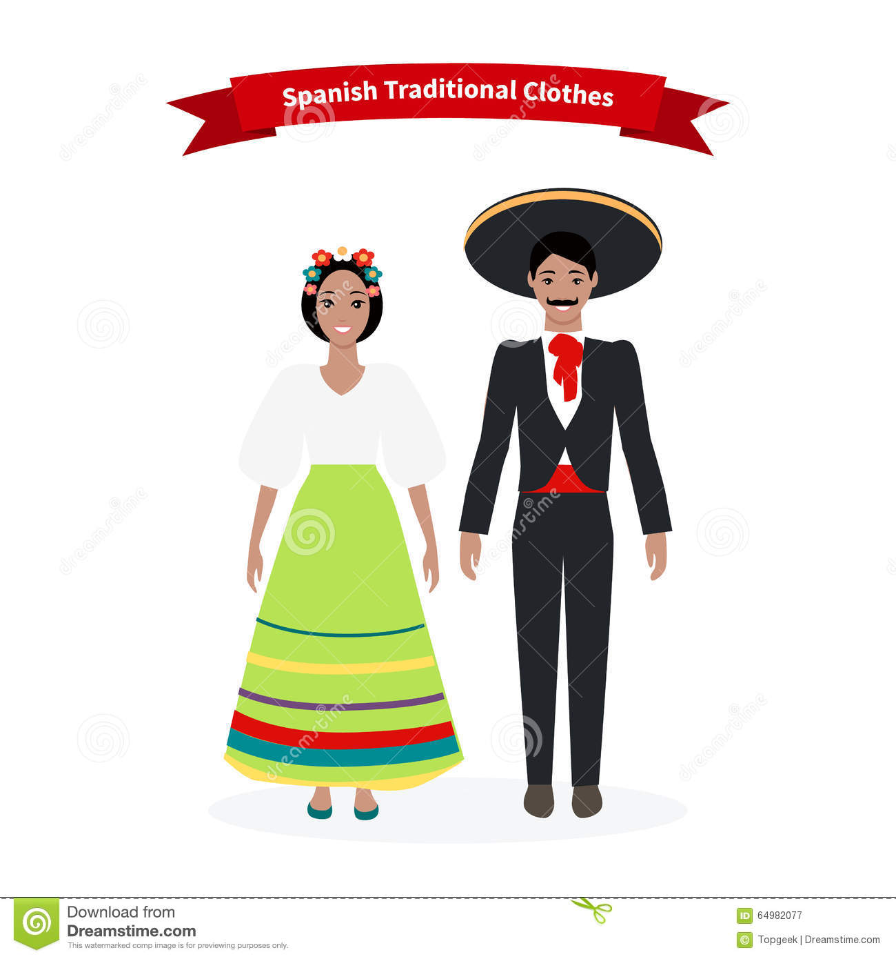 Art Unlimited Sportswear: Spanish Traditional Clothes People Stock Vector