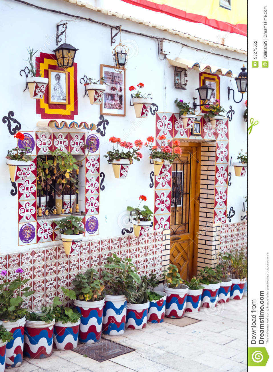 Spanish traditional home stock photo image 53273652 for Decoration facade maison