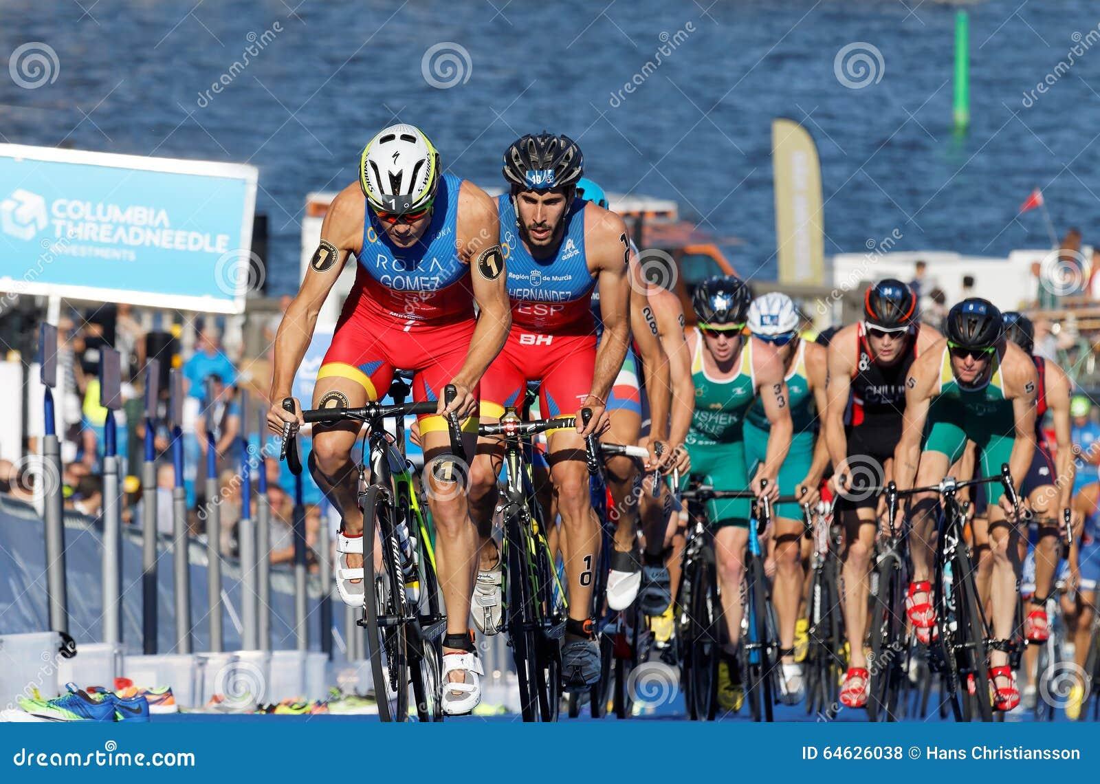 Spanish Triathlon Competitors Cycling Uphill Editorial ...