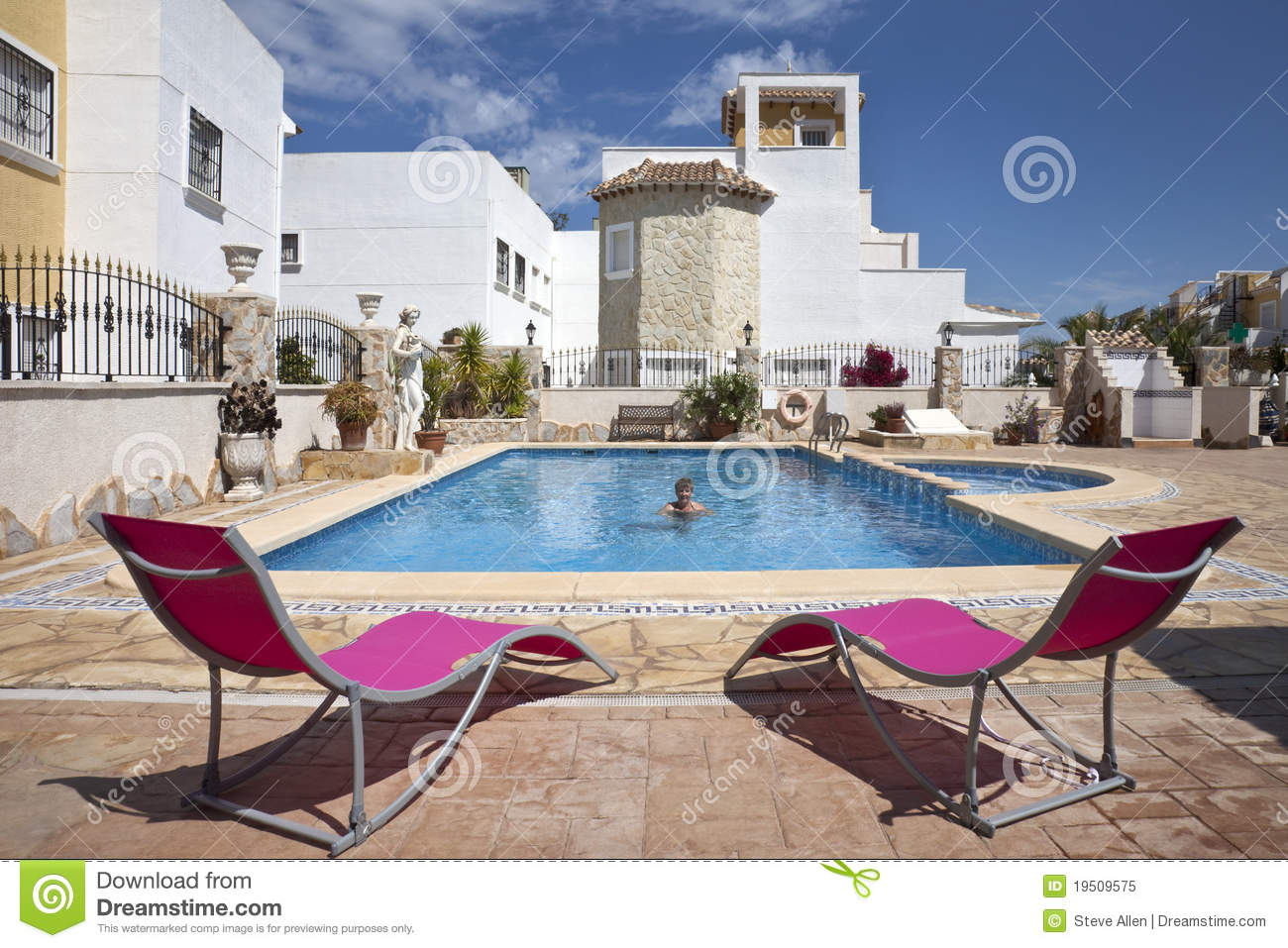 Spanish Vacation Resort Swimming Pool Royalty Free Stock Photo Image 19509575