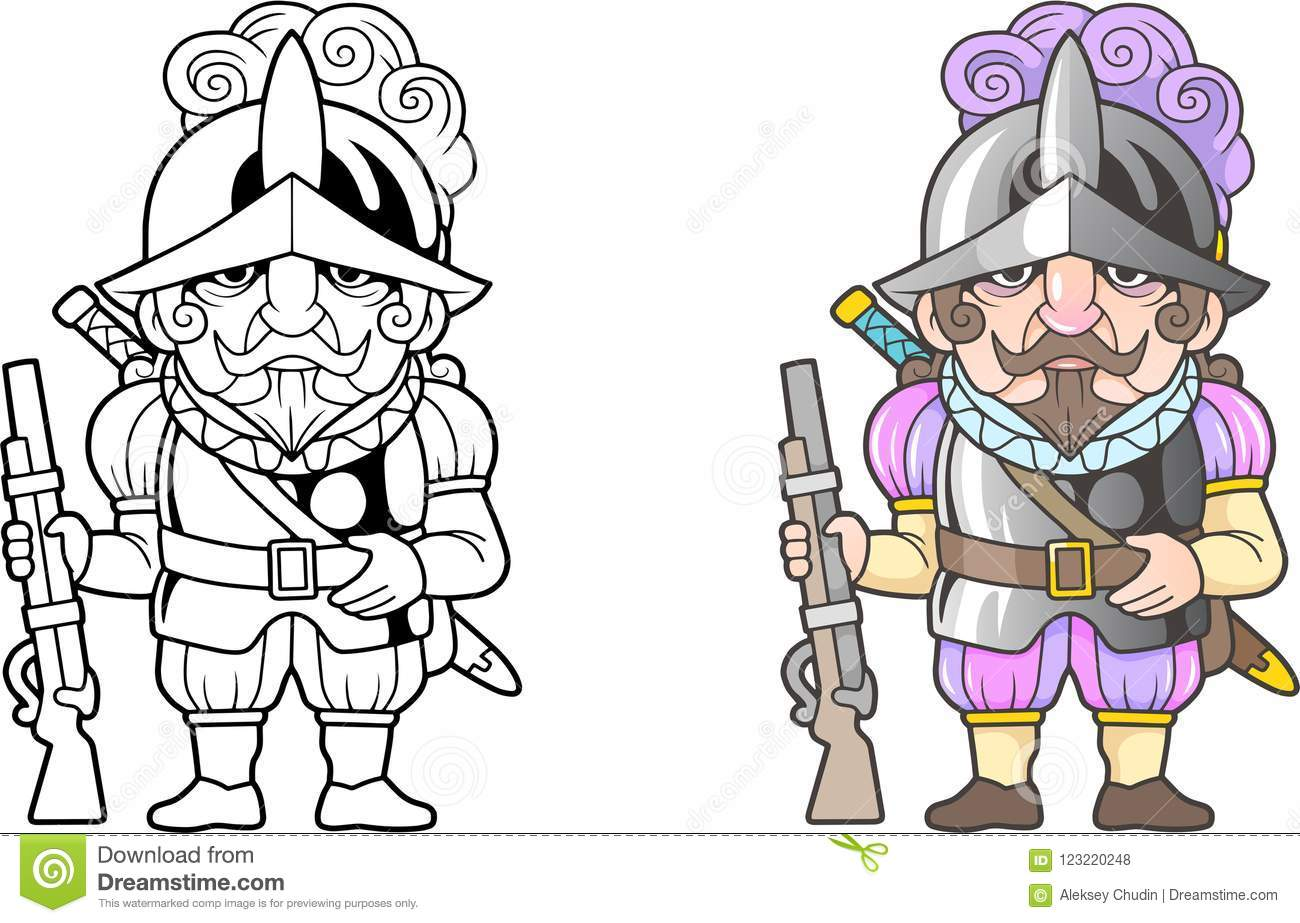 Spanish Warrior Conquistador, Funny Illustration, Coloring Book ...