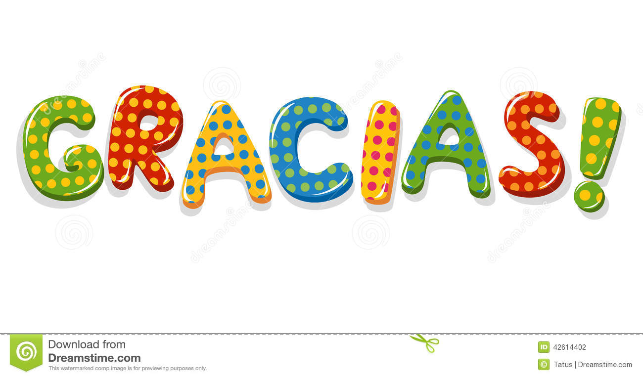 Spanish Word Gracias Colorful Lettering Stock Vector