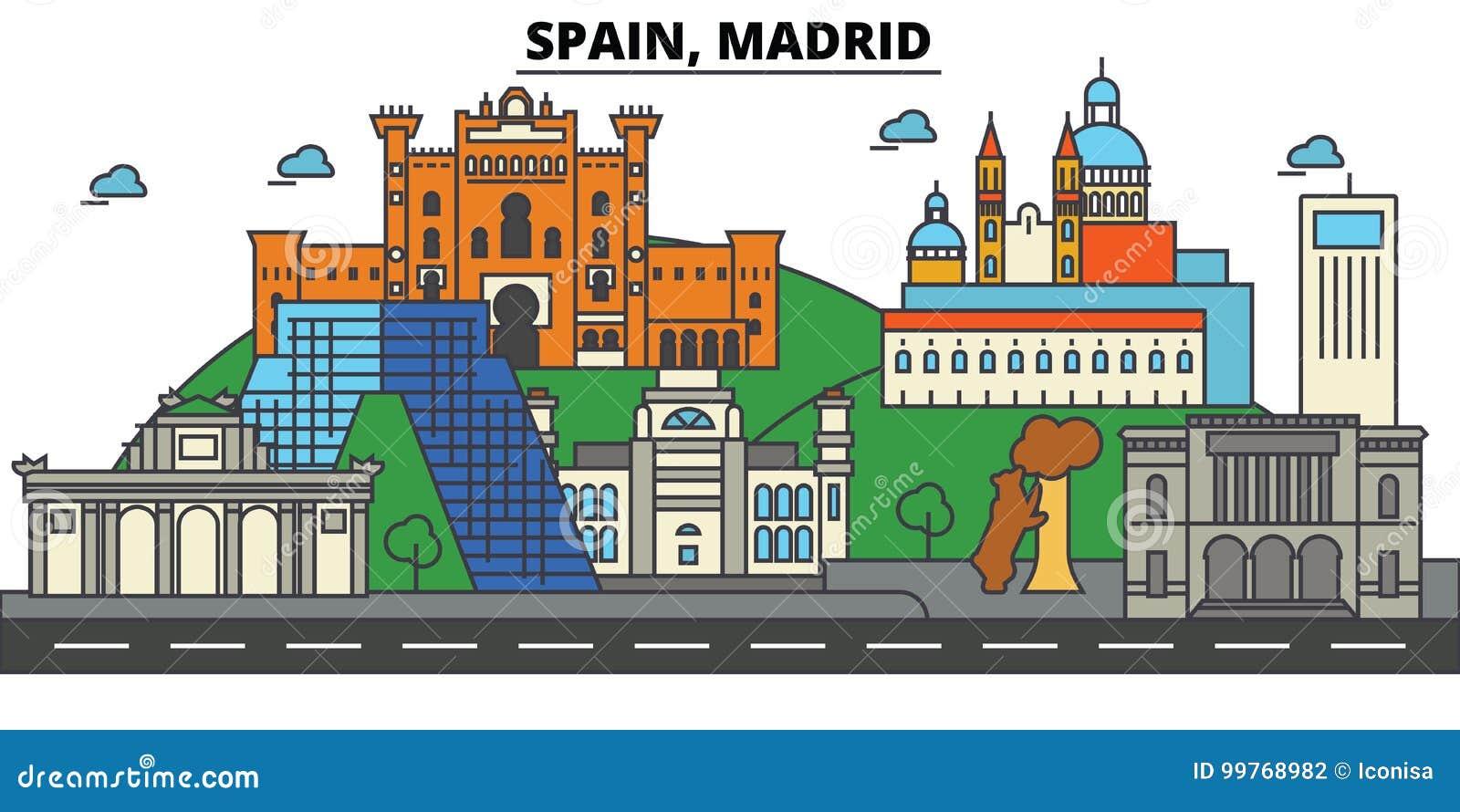 Spanje, Madrid De architectuur van de stadshorizon editable