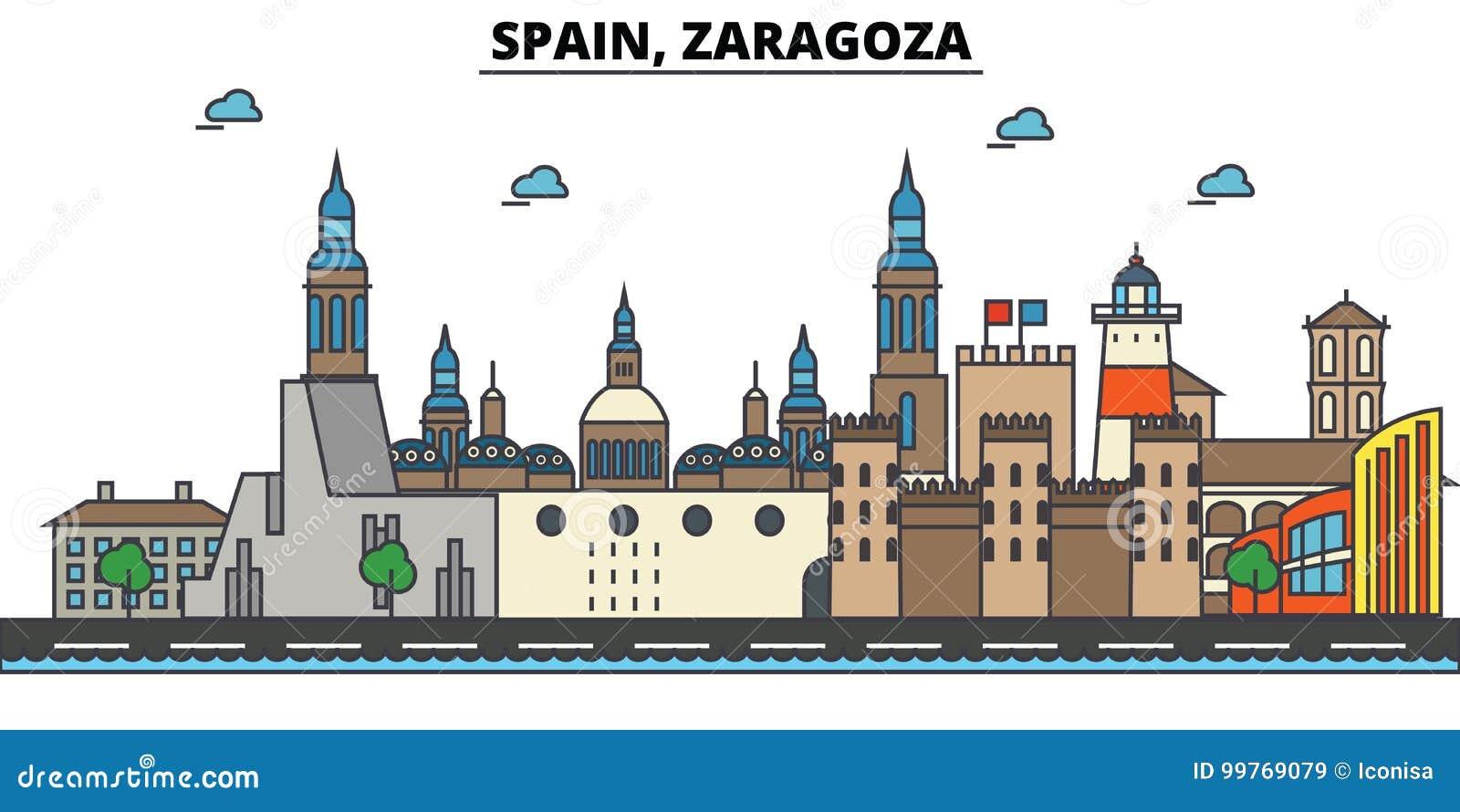 Spanje, Zaragoza De architectuur van de stadshorizon editable