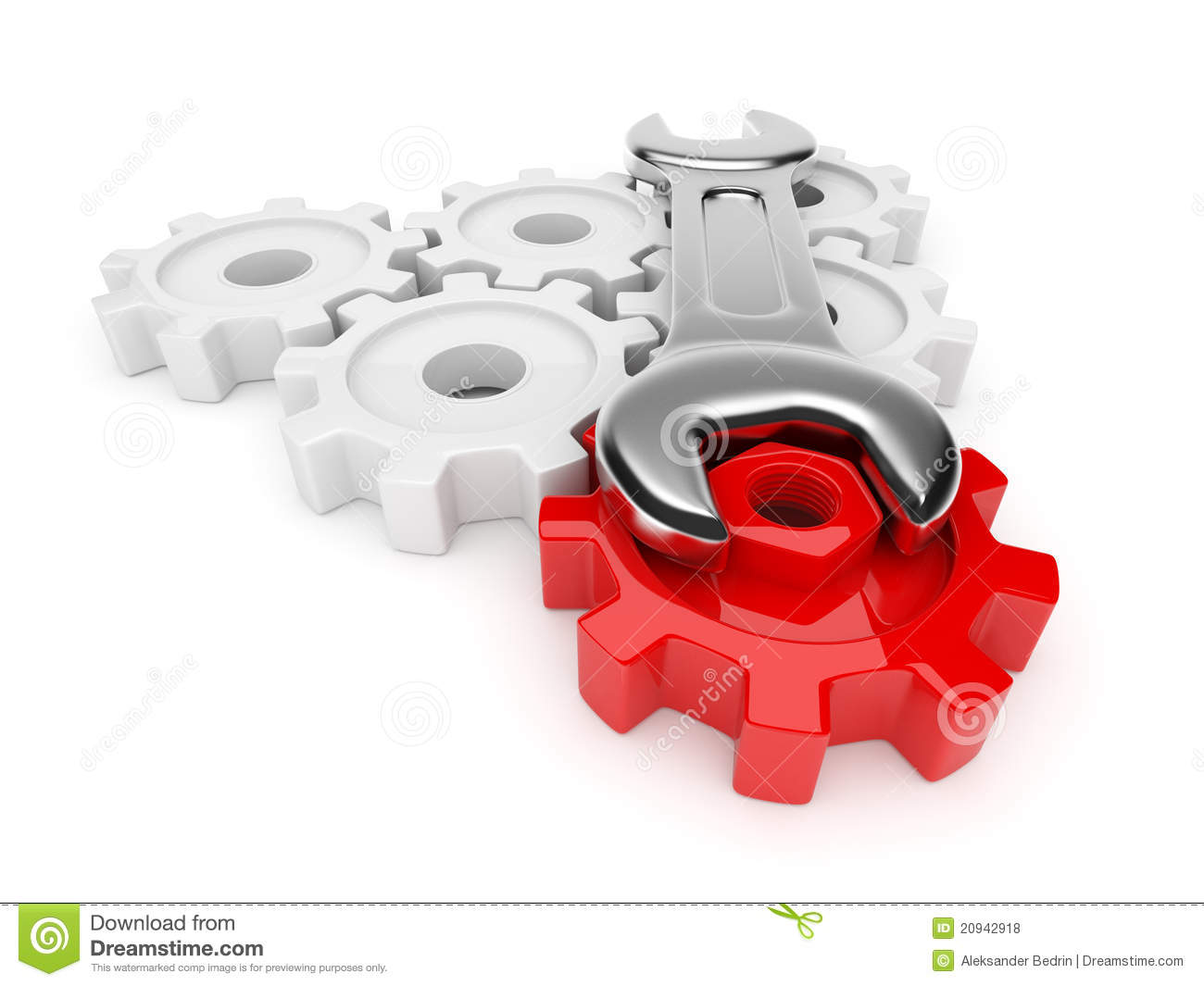spanner and gear 3d adjustment of system stock illustration