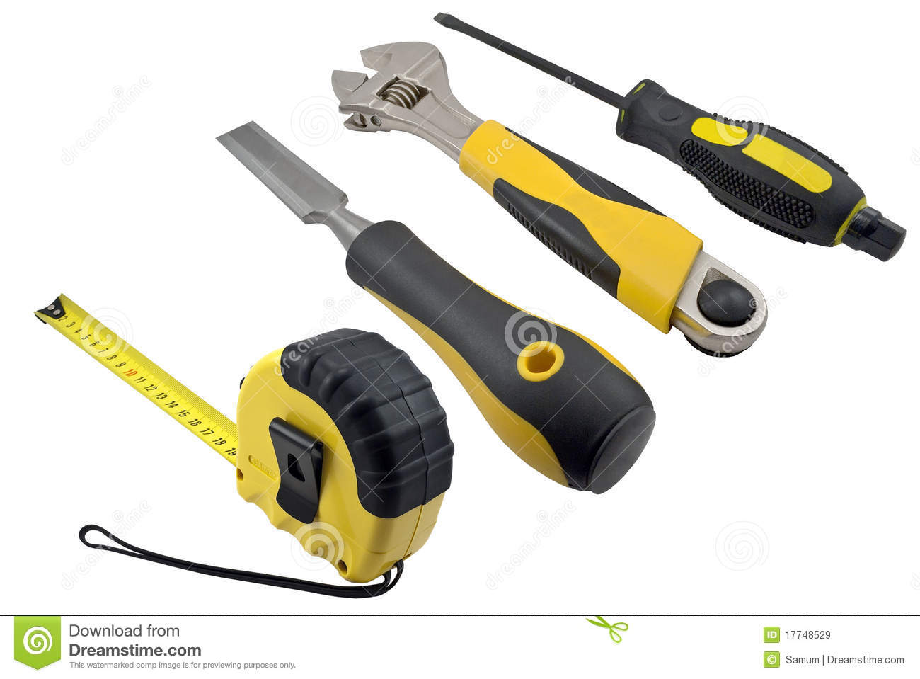 Spanner, large screwdriver and chisel