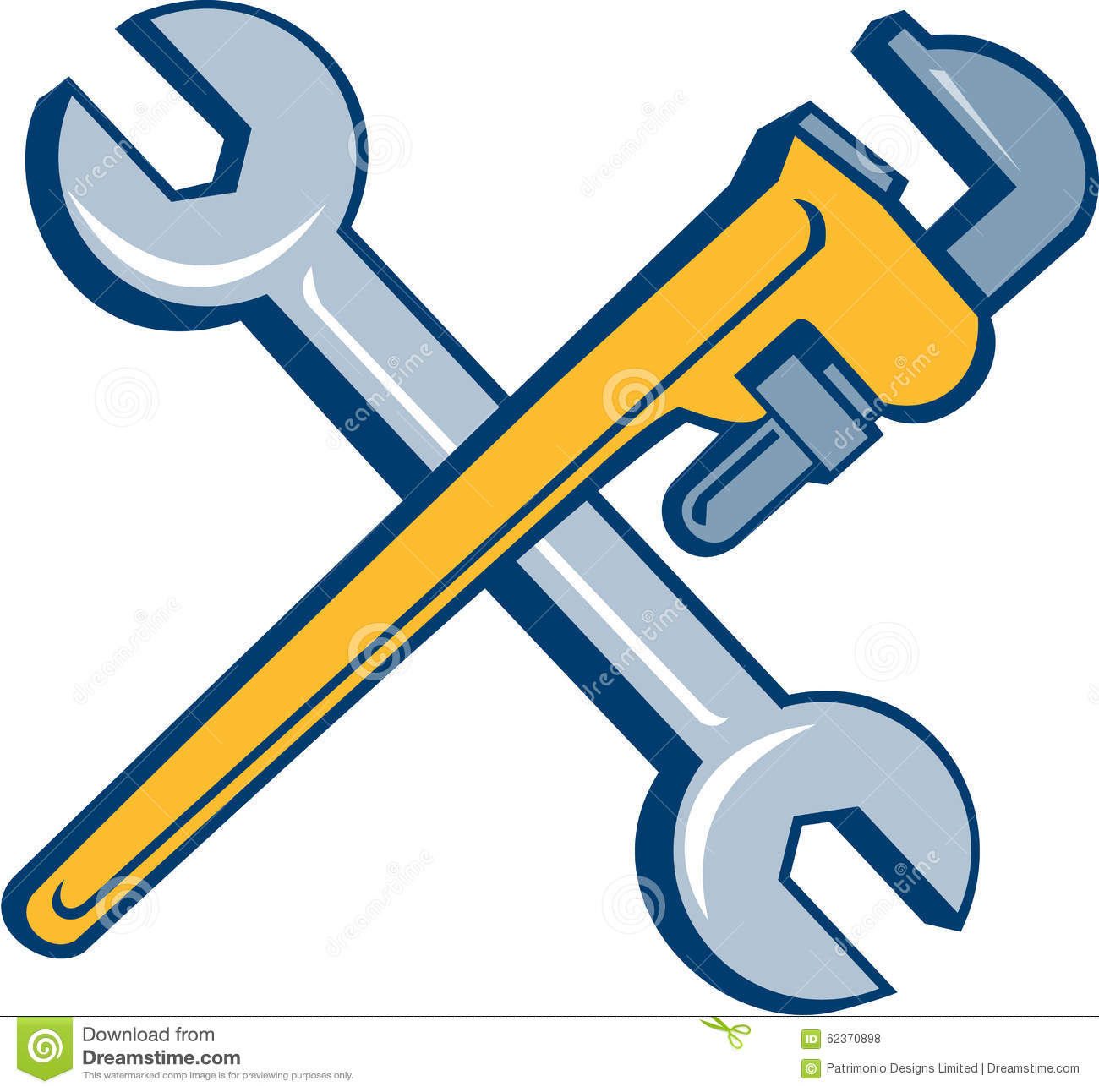 spanner monkey wrench crossed isolated cartoon stock vector