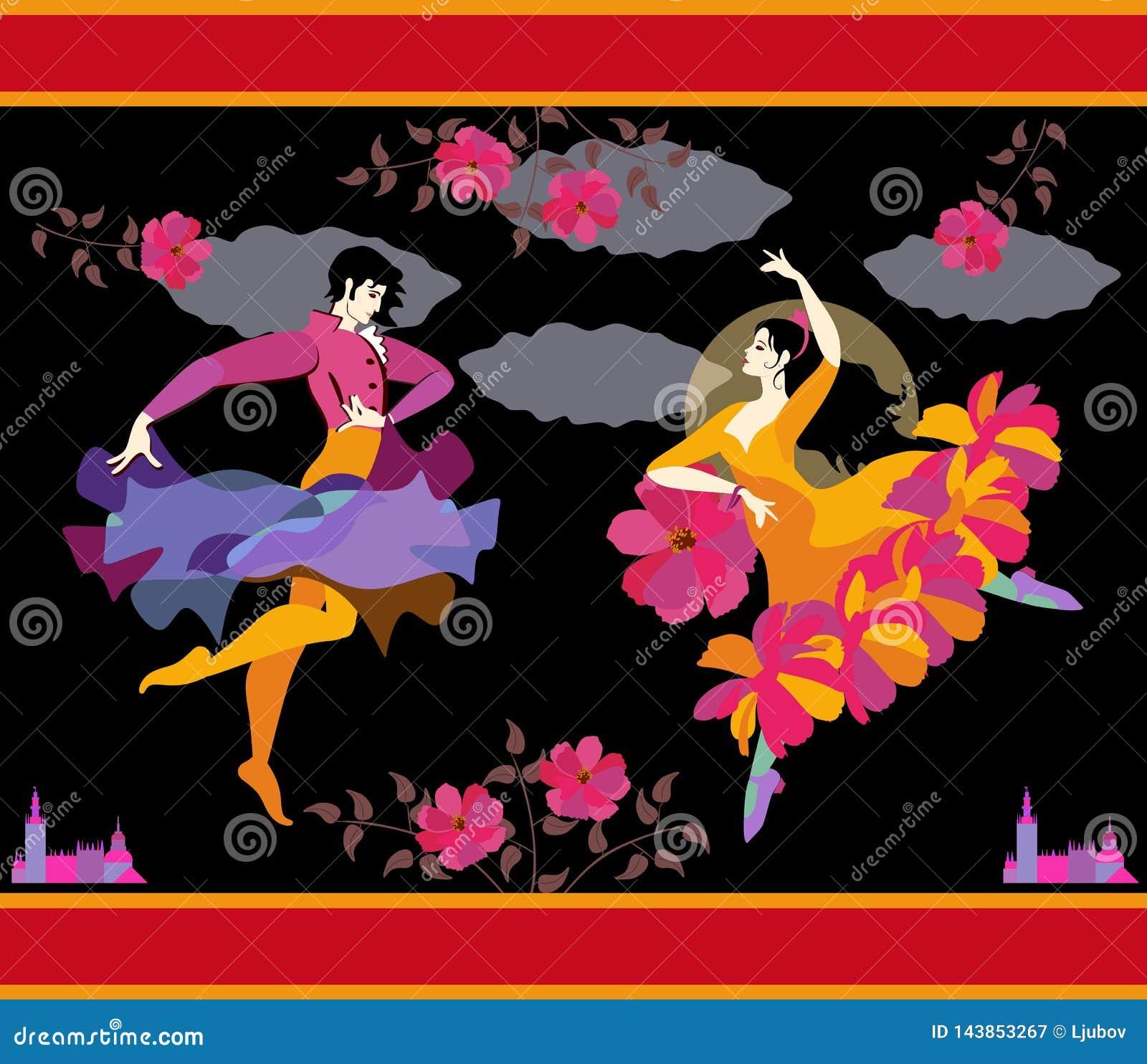 Spanska dansare i nationell kläder med fanen och regnrocken i deras händer i formen av blomman och flygfågeln som dansar flamenco