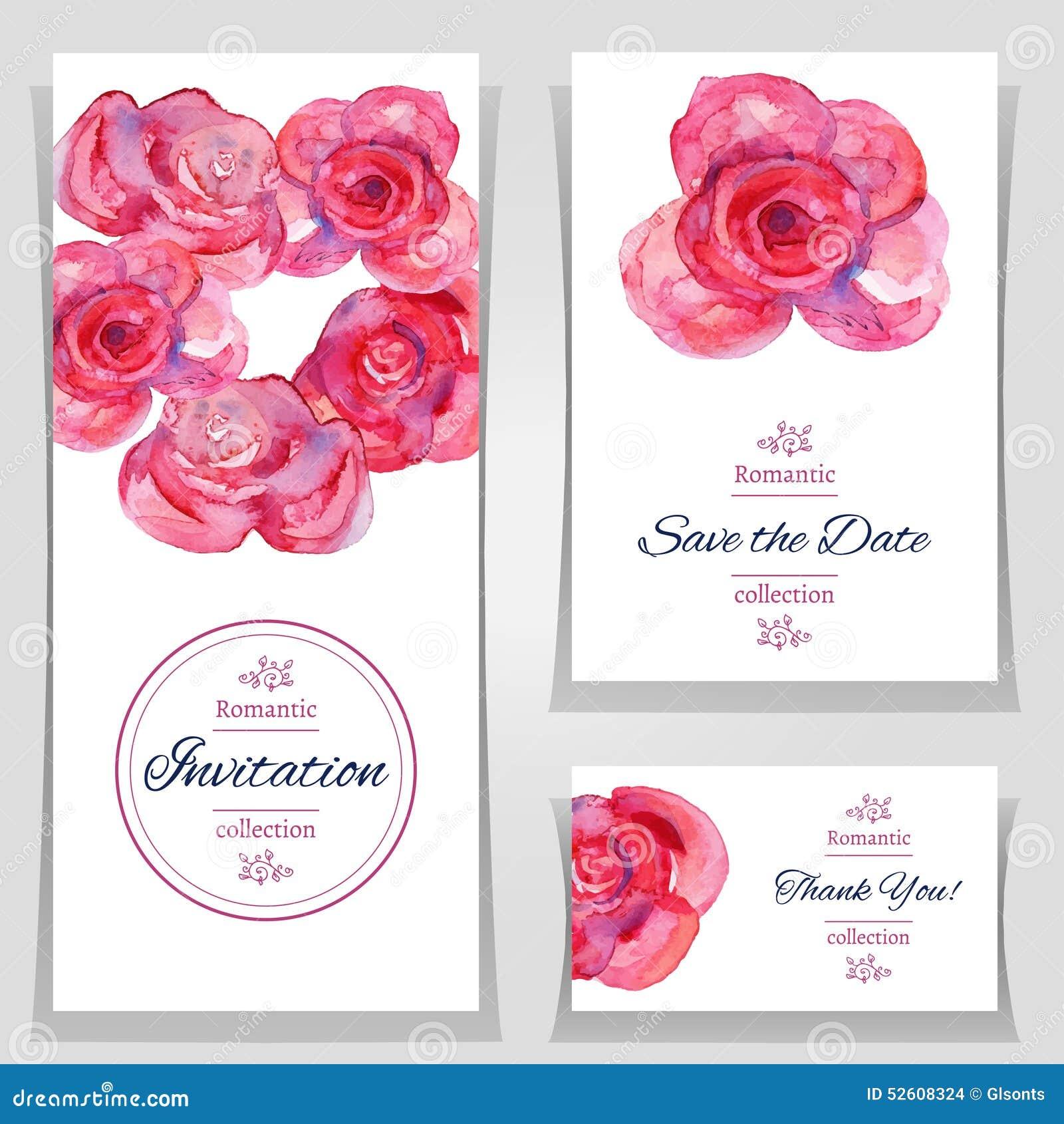 Spara datum- eller bröllopinbjudanmallarna med röda rosor