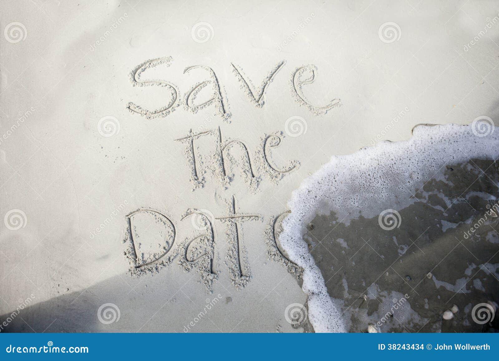 Spara datumet, i sand