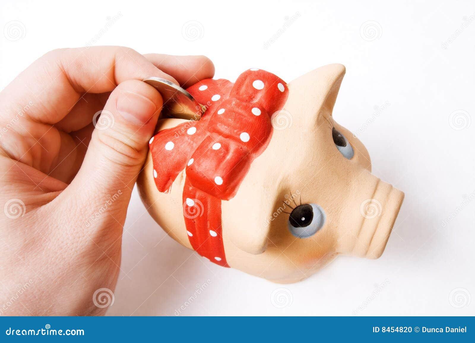Sparande för pengar för begrepp för gruppbankrörelsemynt piggy