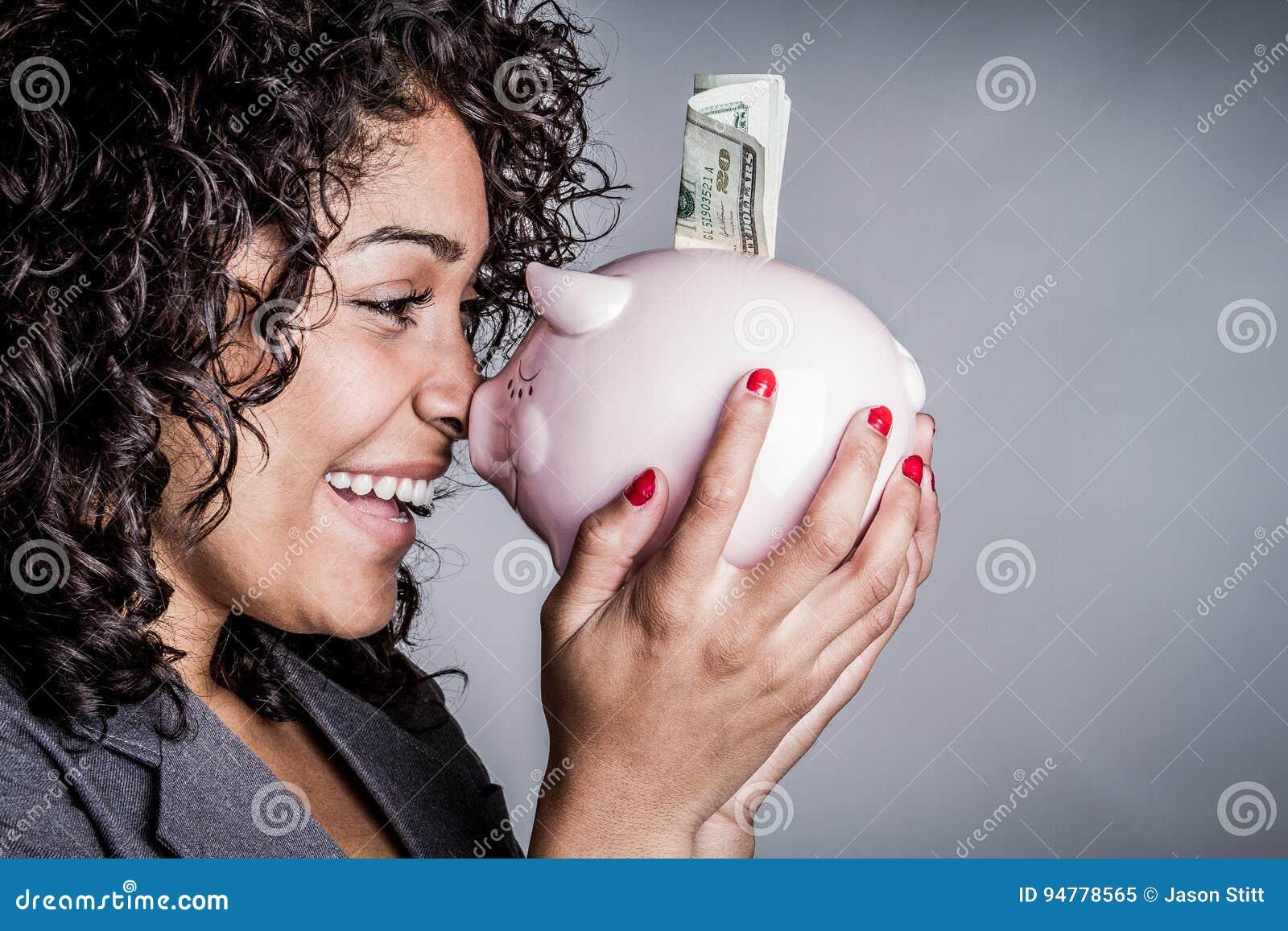 Sparande pengar för kvinna