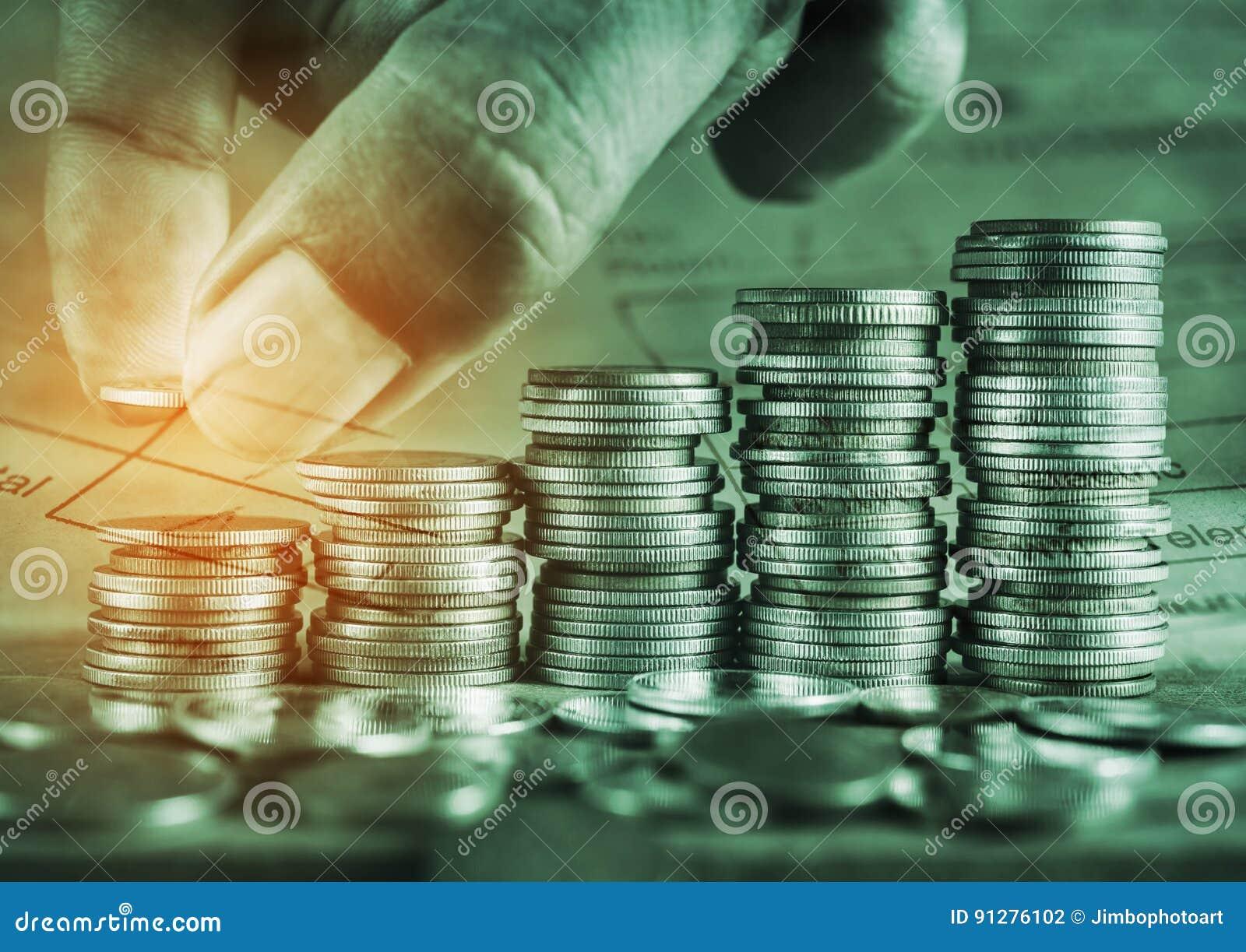 Sparande pengar och konto för finansbegrepp