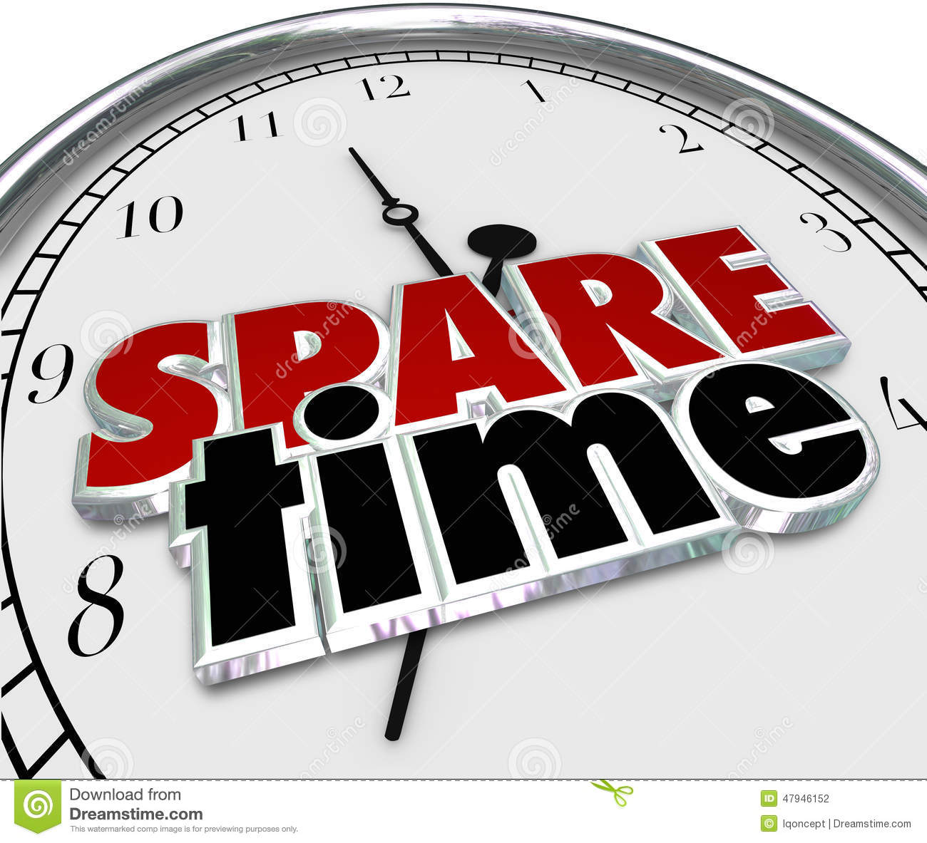 Spare Free Time Passing Leisure Activities Clock Hours Minutes Stock Illustration   Image  47946152