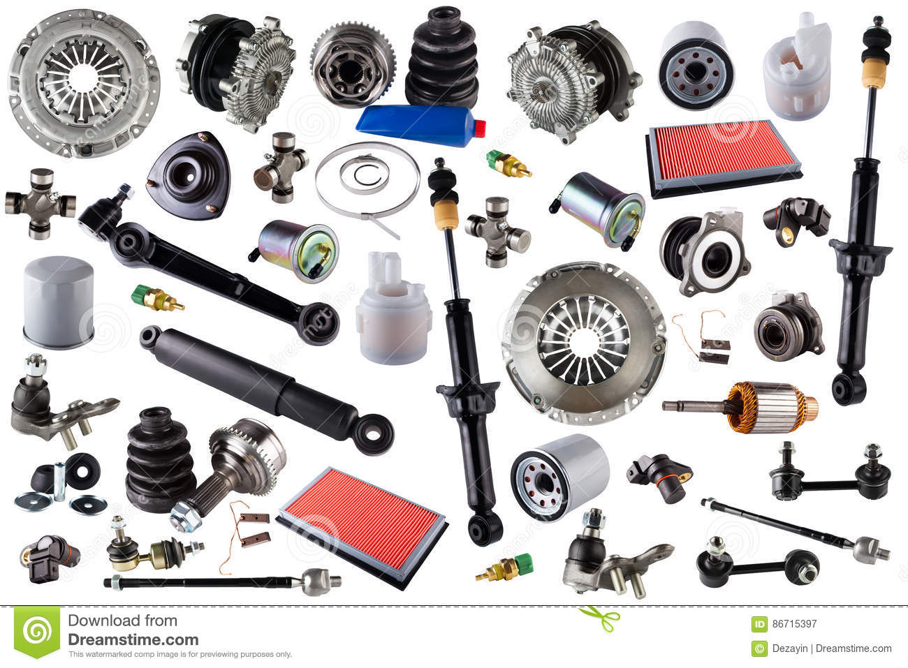 Auto Motor Parts : Spare parts car on the white background set cartoon vector