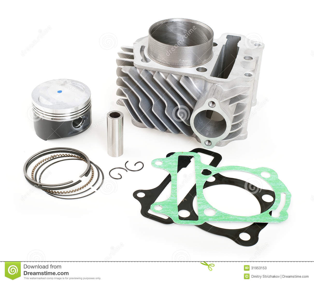 Locomotive Spare Parts : Spare parts for motorbike engine stock image of