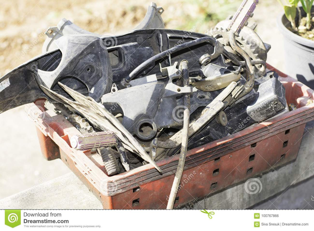 Motorcycle spare parts stock photo  Image of engine - 100767866
