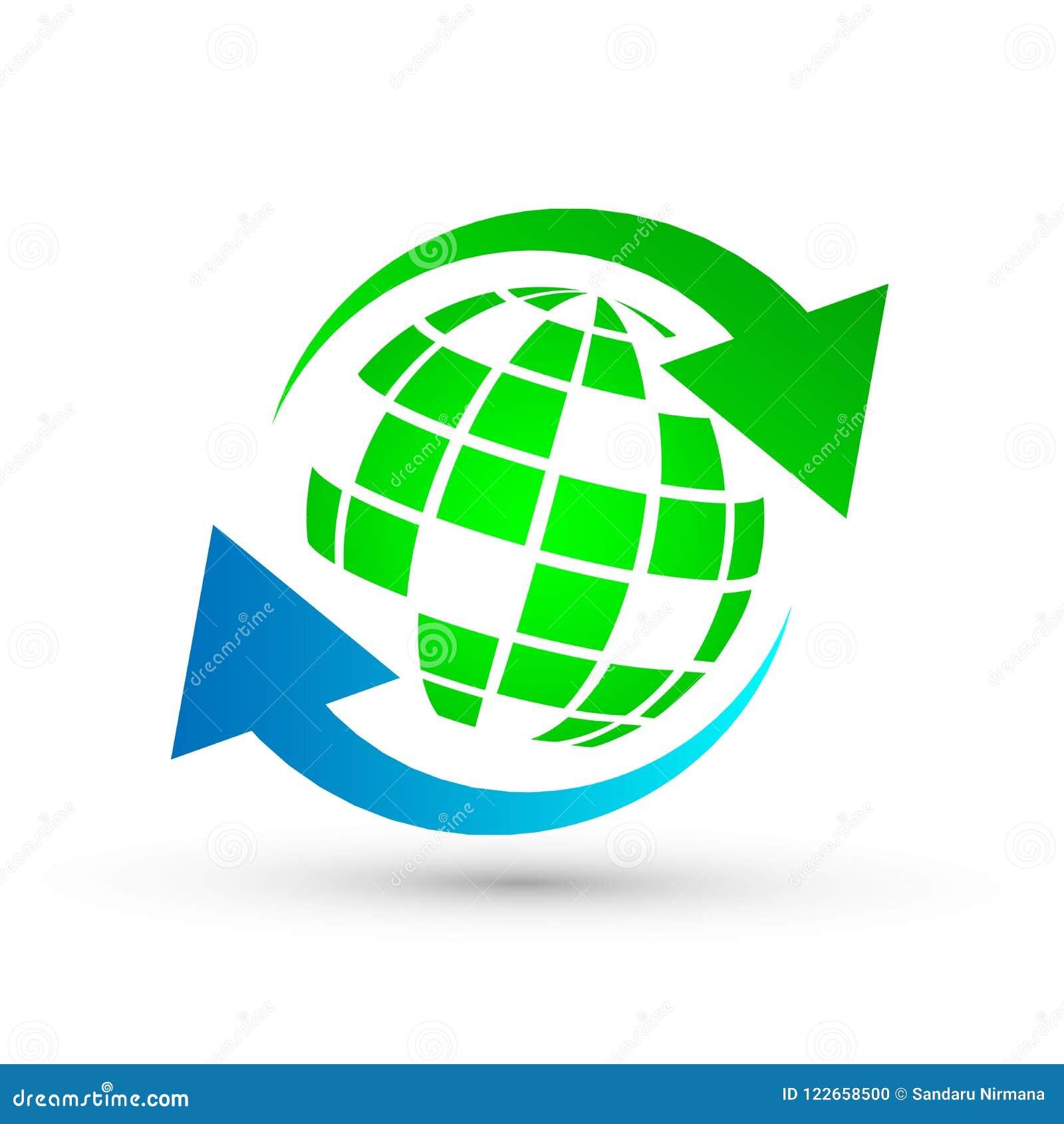 Sparen aarde met groen embleempictogram op witte achtergrond