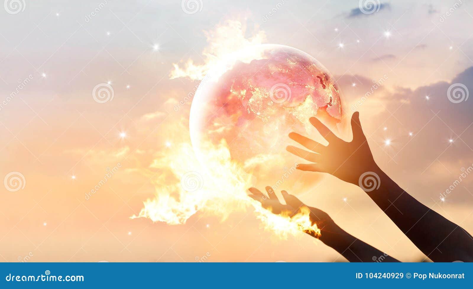 Sparen de campagne van de wereldenergie Aarde met flamen