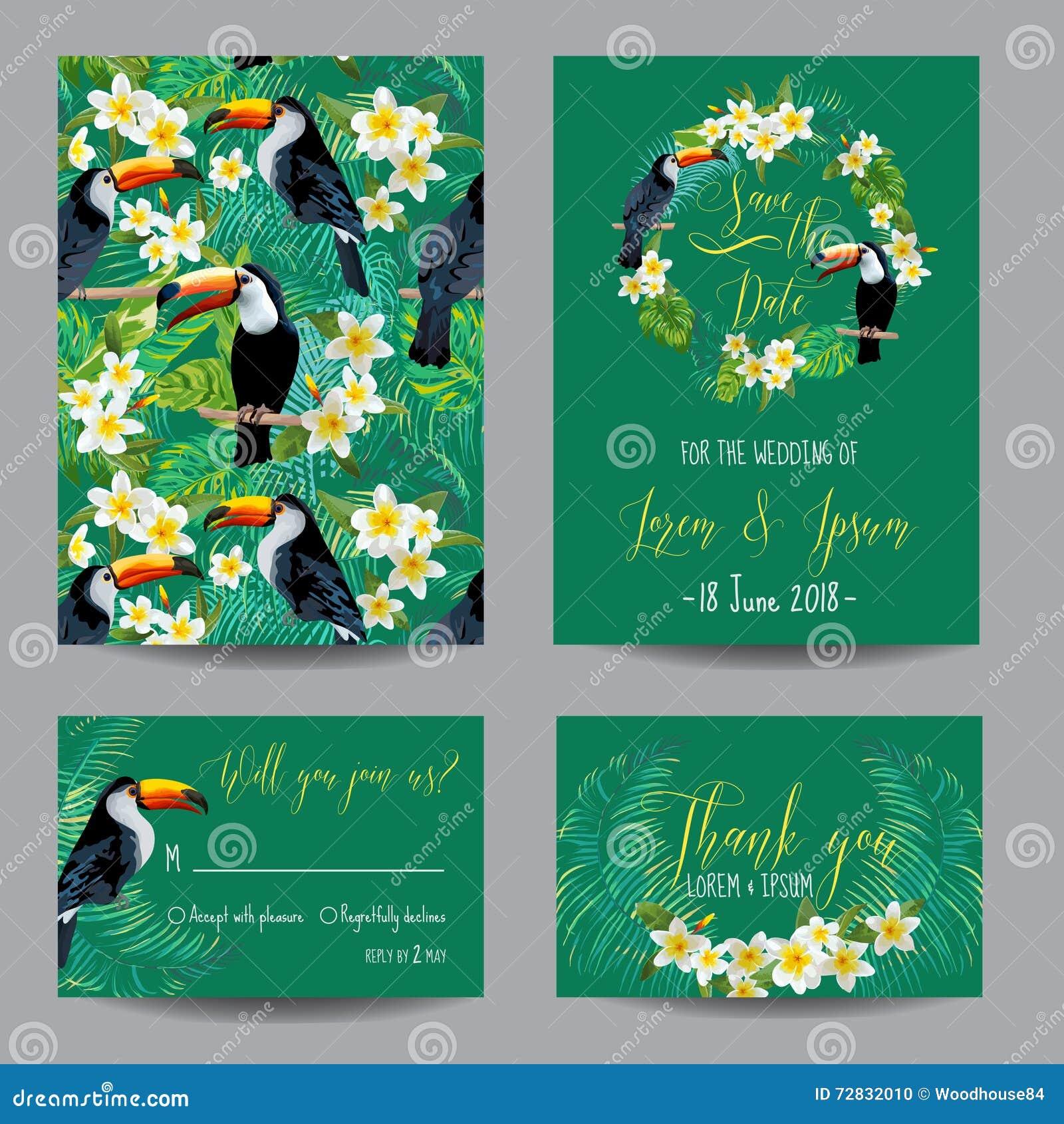 Sparen de datumkaart Tropische bloemen en vogels