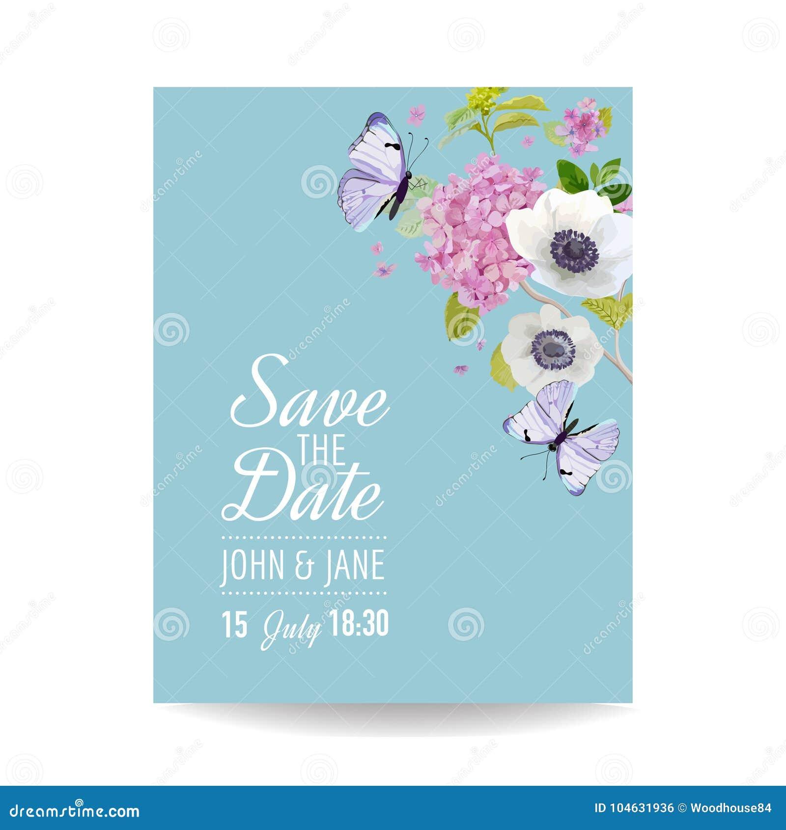 Download Sparen Het Malplaatje Van De Het Huwelijksuitnodiging Van De Datumkaart Botanische Kaart Met Hydrangea Hortensiabloemen En Vlinde Vector Illustratie - Illustratie bestaande uit decoratie, banner: 104631936
