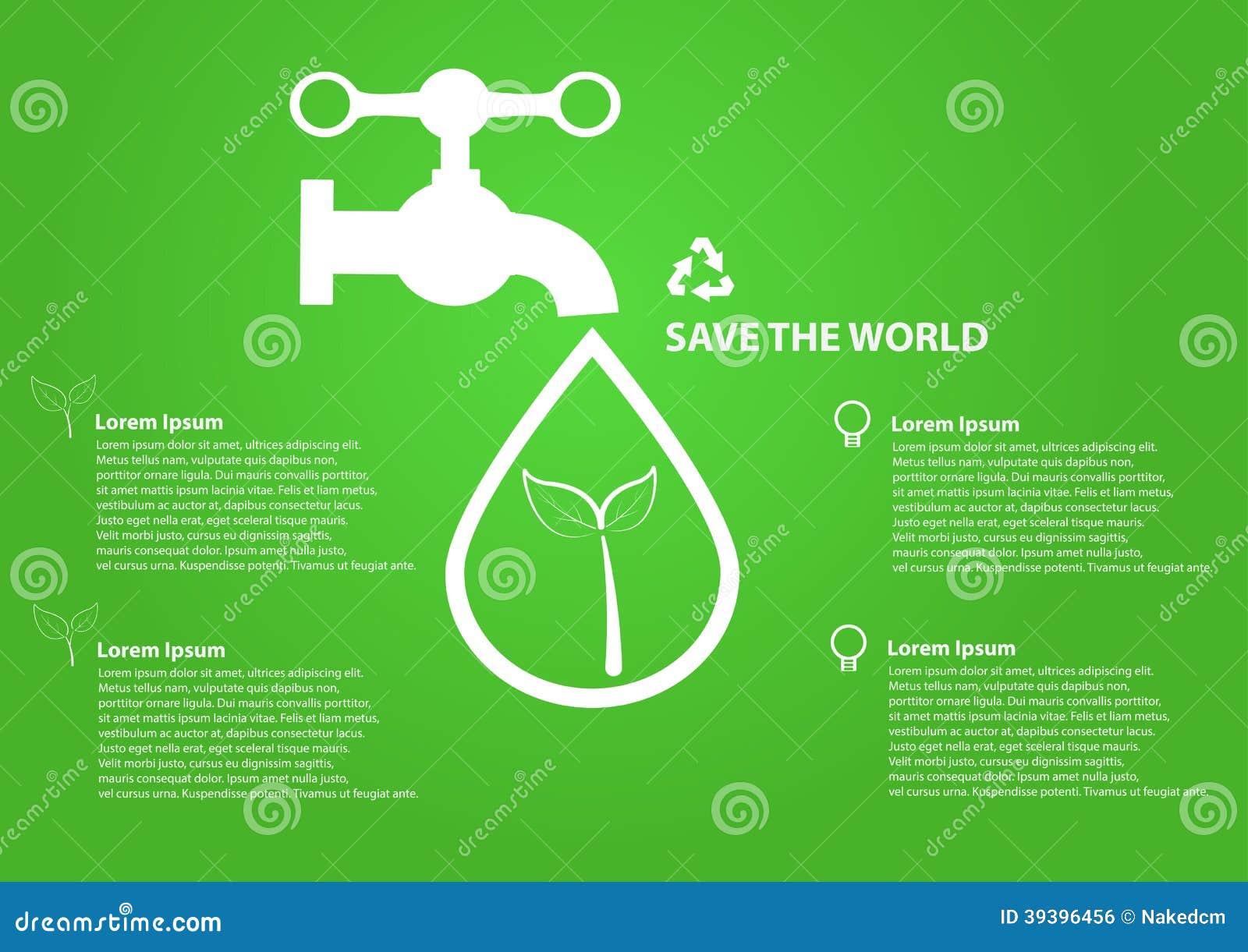 Sparen het waterdalingen van het wereldpictogram met tapkraan