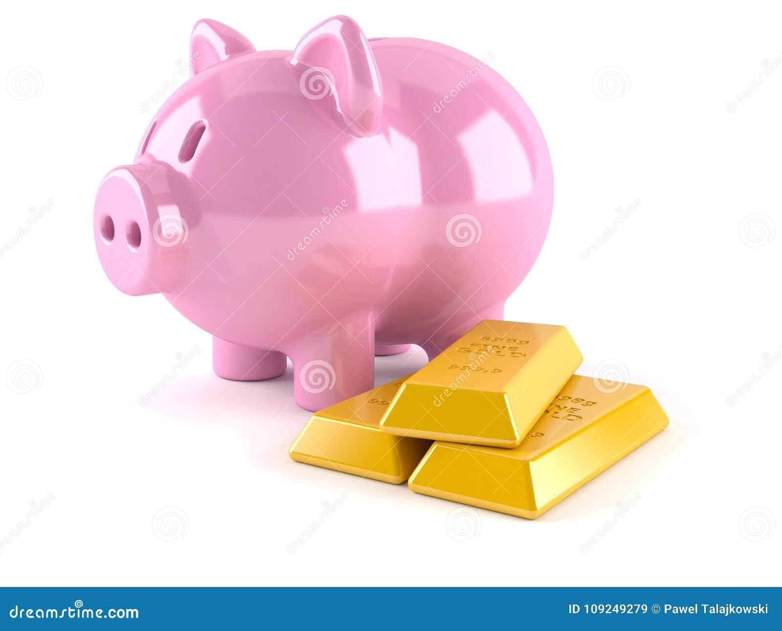Spargris med guldtackor
