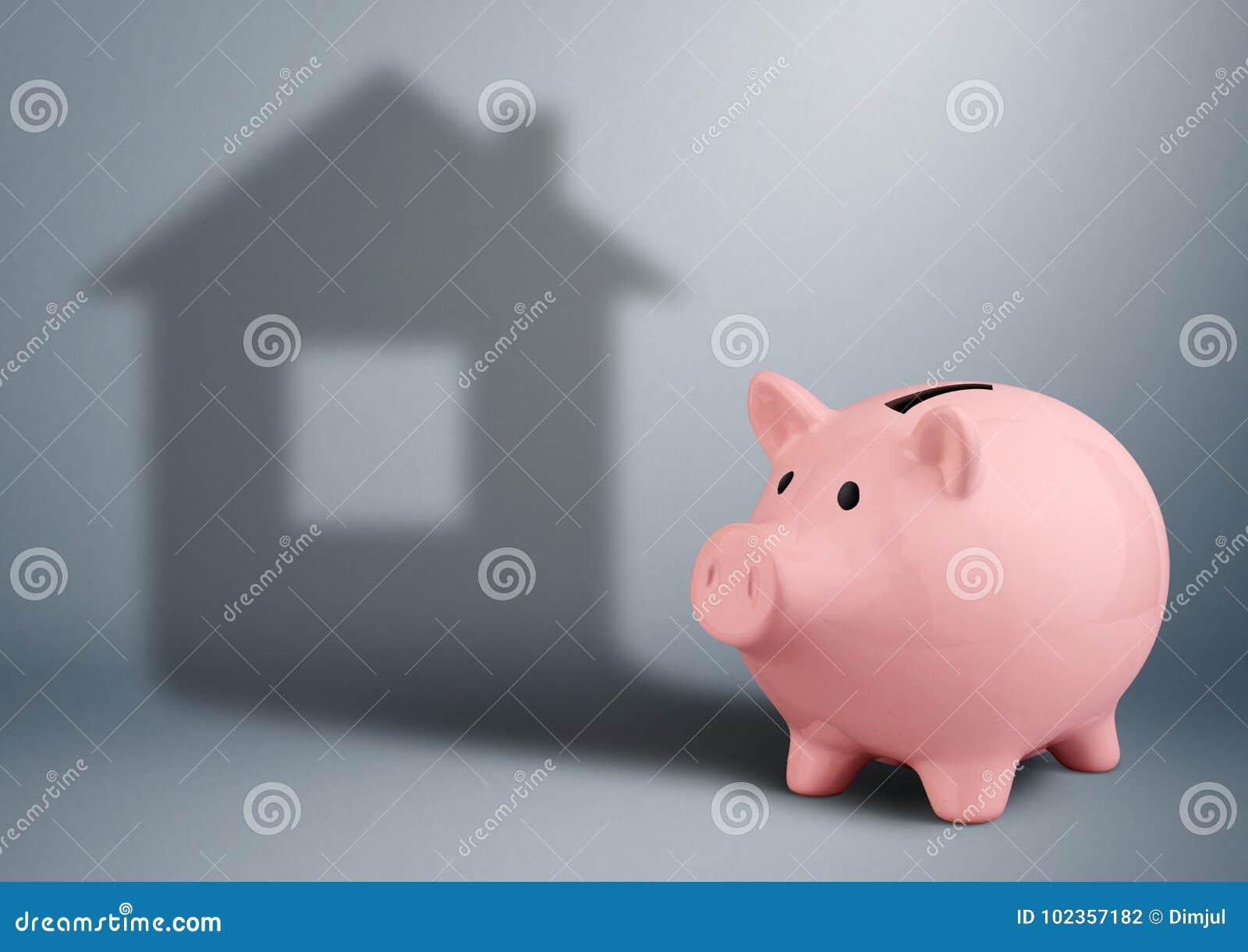 Spargris med skugga som huset, begrepp för finans för husbransch