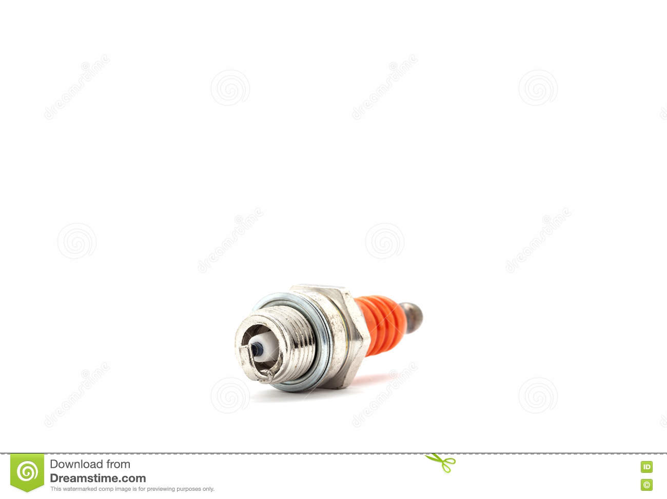 spark plug for Lawn Mower isolated on white background.