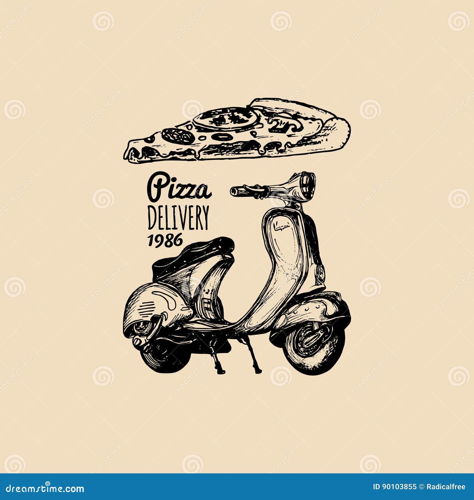 Sparkcykel för vektorpizzaleverans Skissad retro motorroller med den italienska matillustrationen Typografisk advertizingaffisch