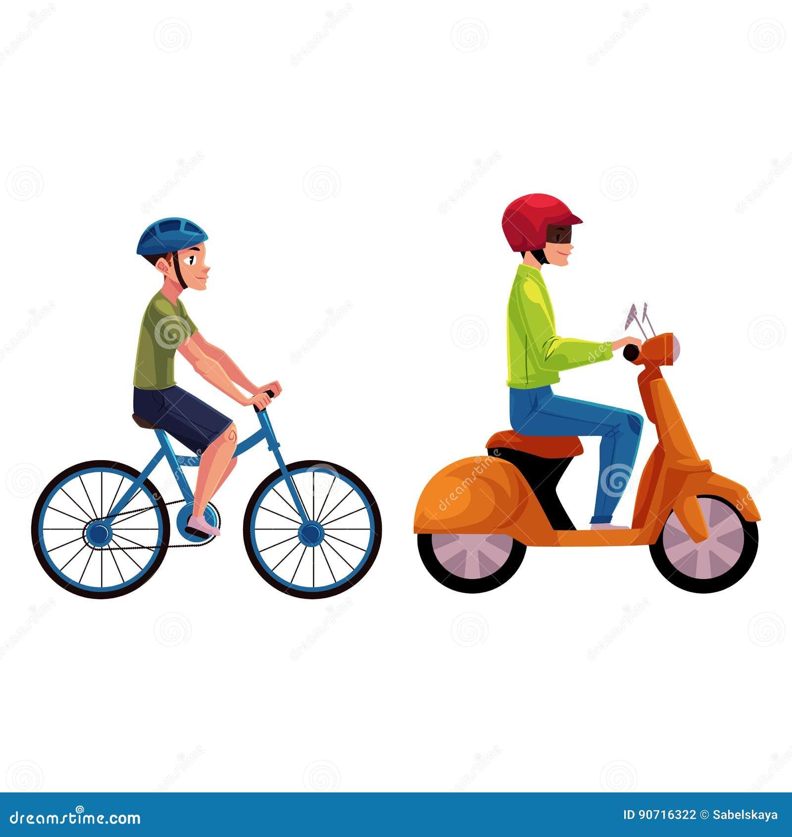 Sparkcykel- och cykelryttare, chaufförer, ryttare som bär hjälmen, sidovew