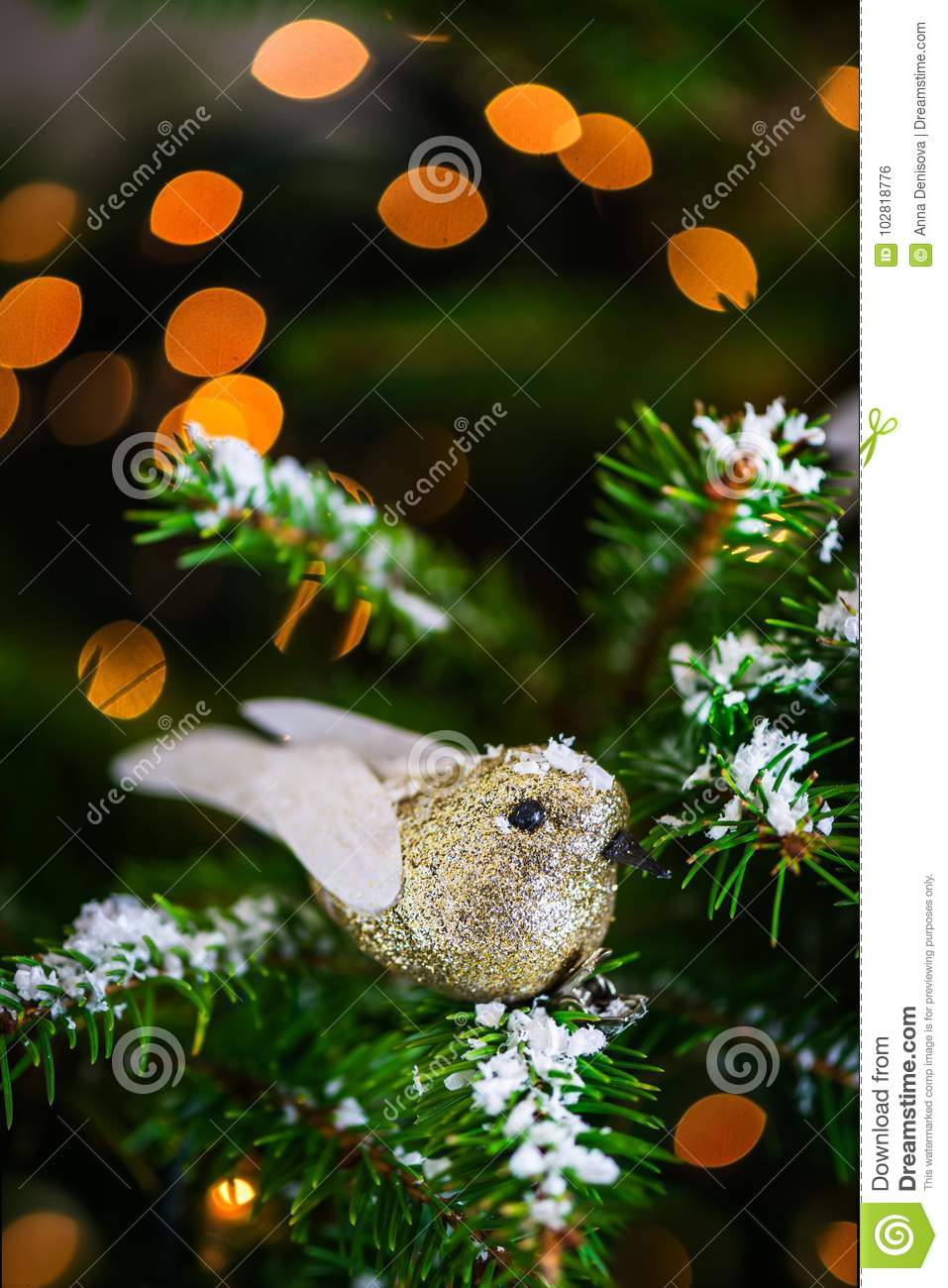 download christmas robin bird on the xmas tree stock photo image of decor decorative - Bird Christmas Tree Decorations