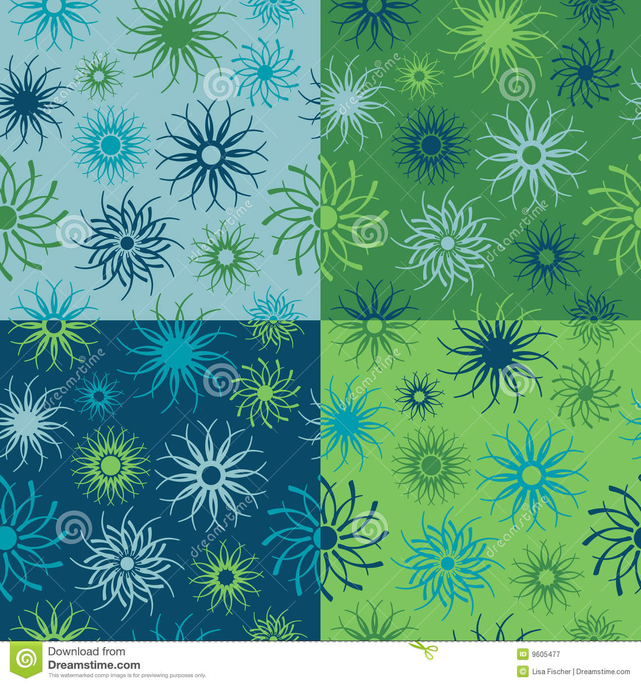 Sparkle Flower Pattern in Blues and Greens