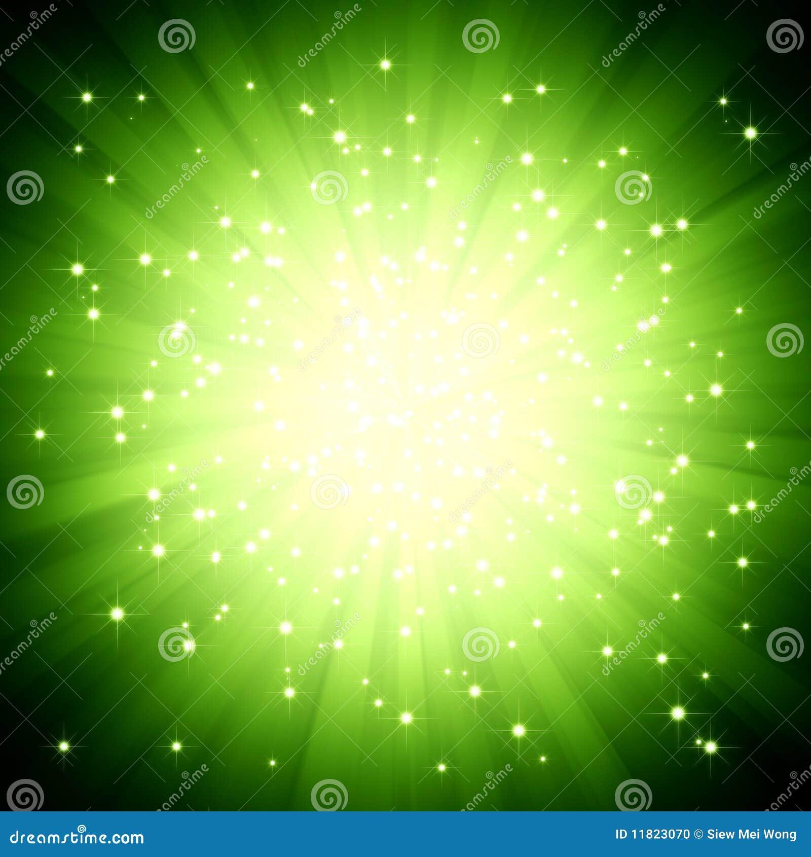 Sparkle Green Light Burst With Stars Stock Photo - Image: 11823070