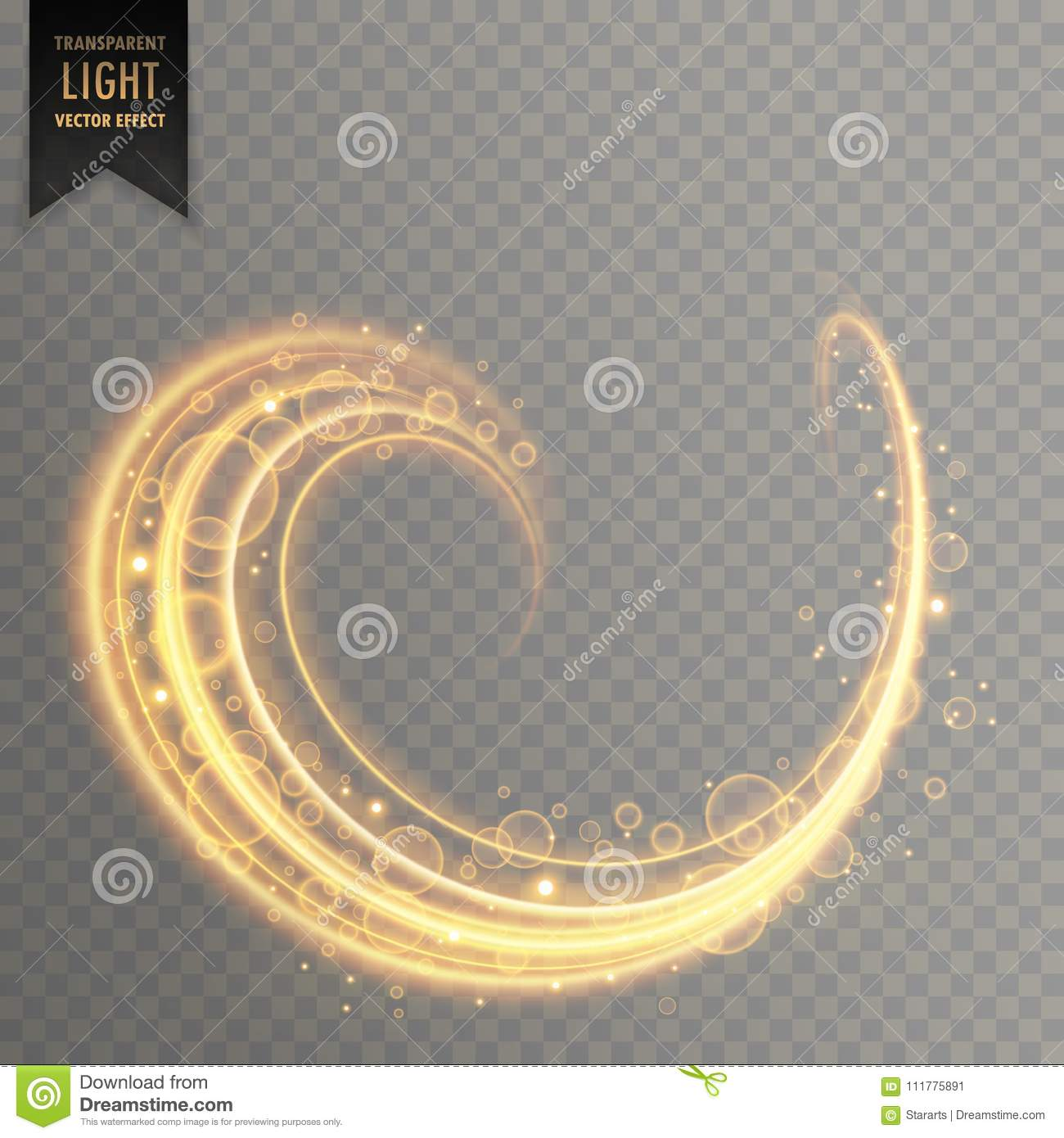 Sparkle and light trail in gold color