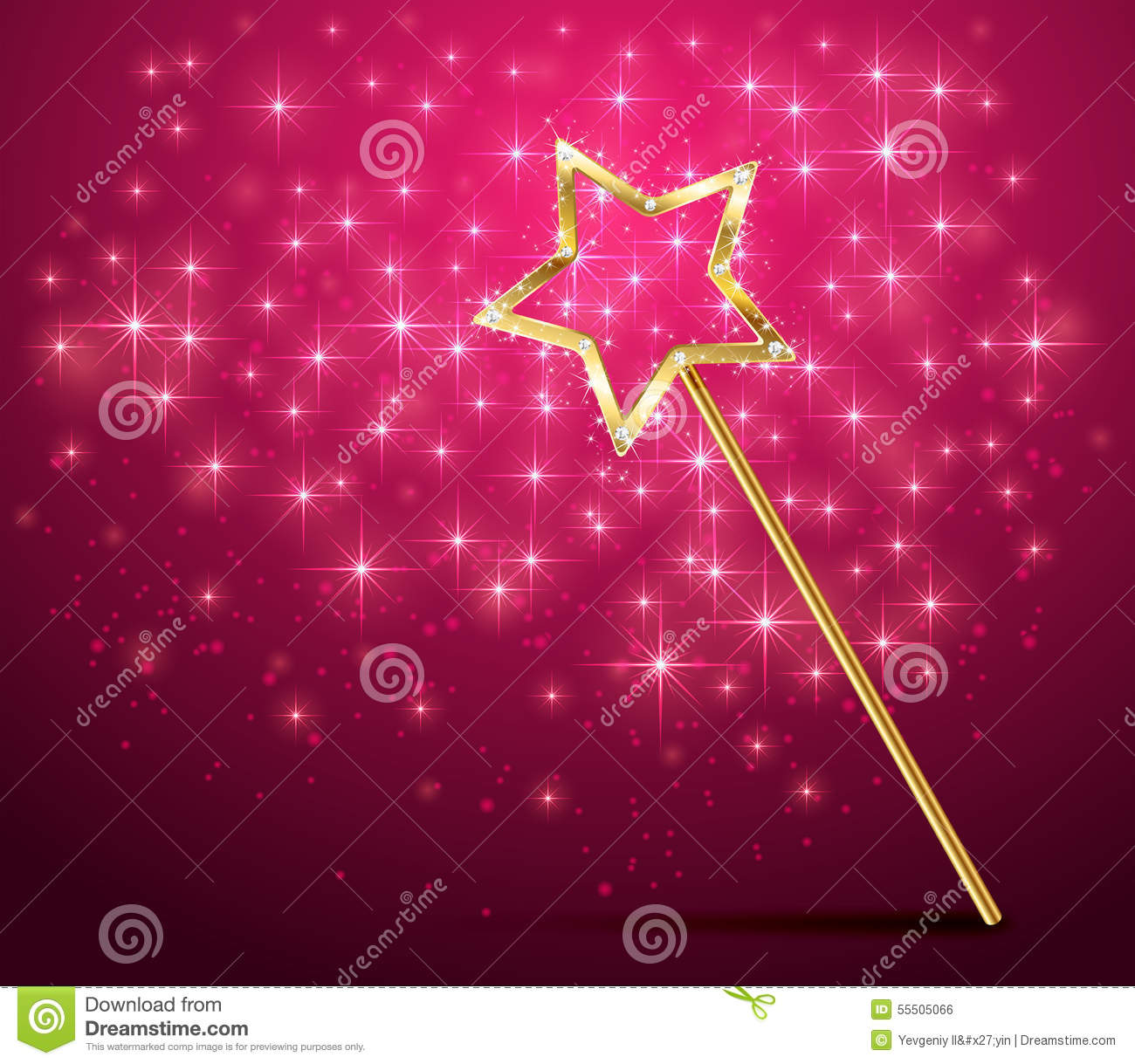 Sparkle Magic Wand On Pink Background Stock Vector Image