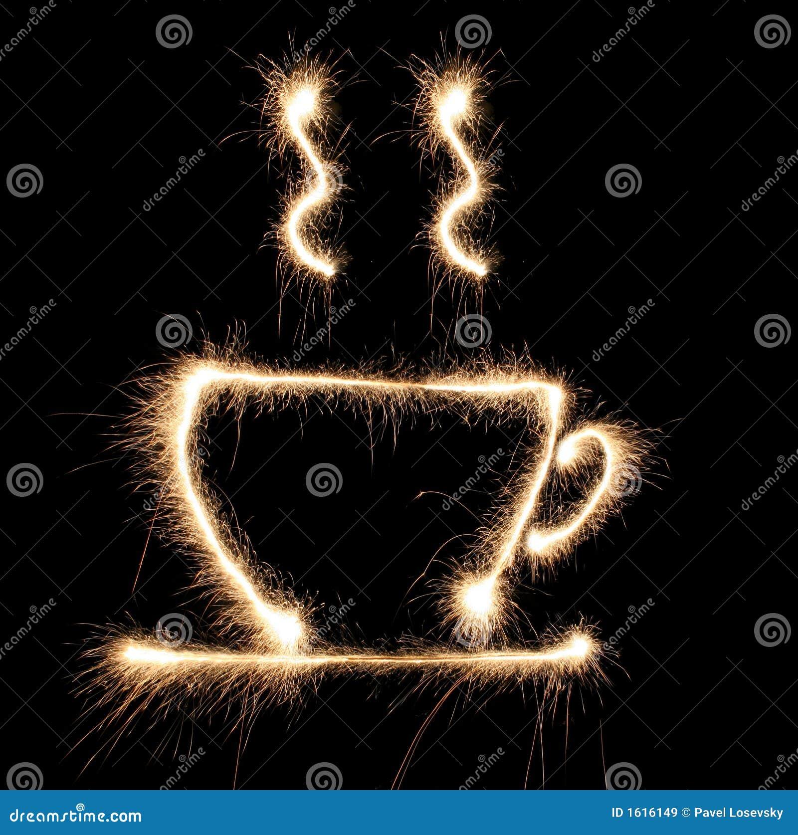 Sparkler do cofee do copo