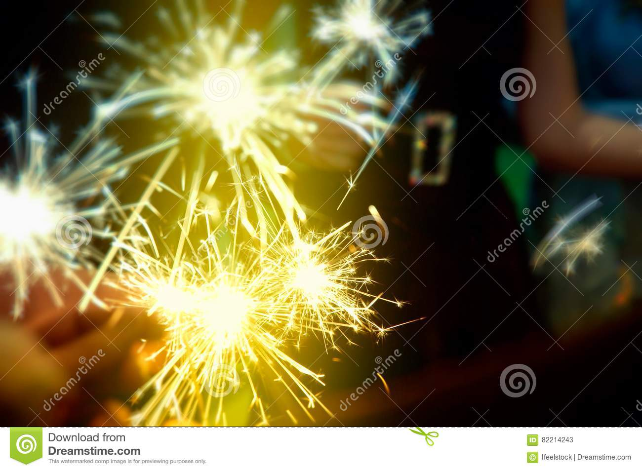 Sparkler In Hands On A Party Ready To Celebrate Stock ...