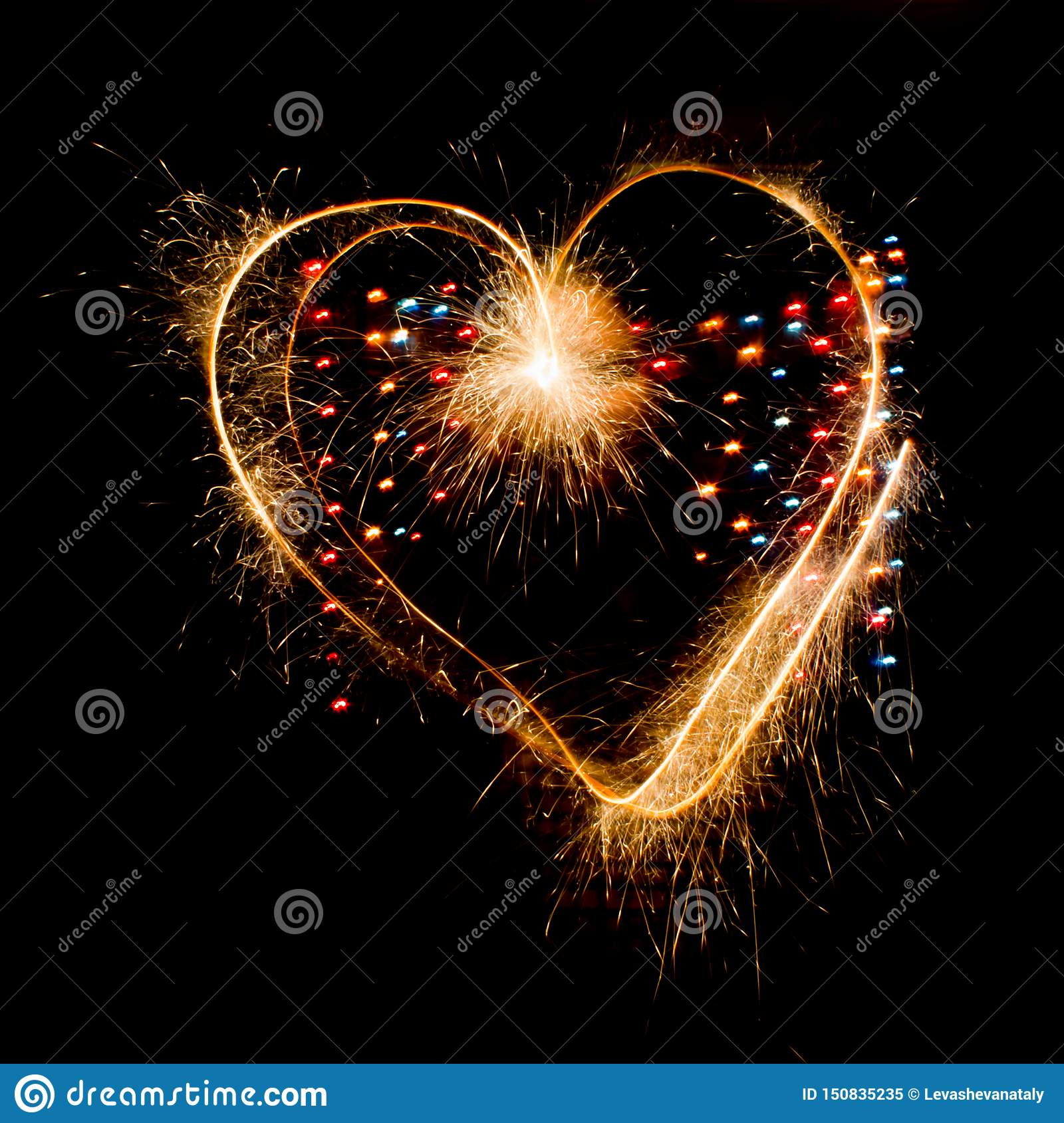 Sparkler heart on valentine`s day