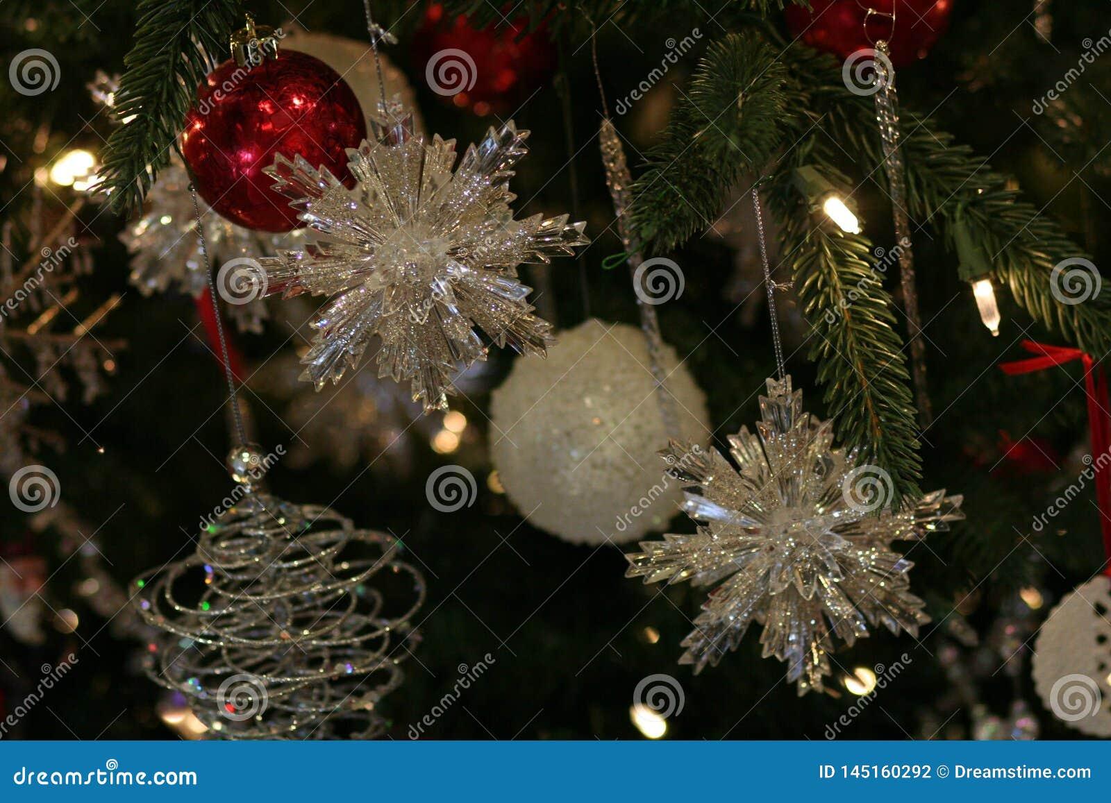 Sparkling crystal snowflake ornaments