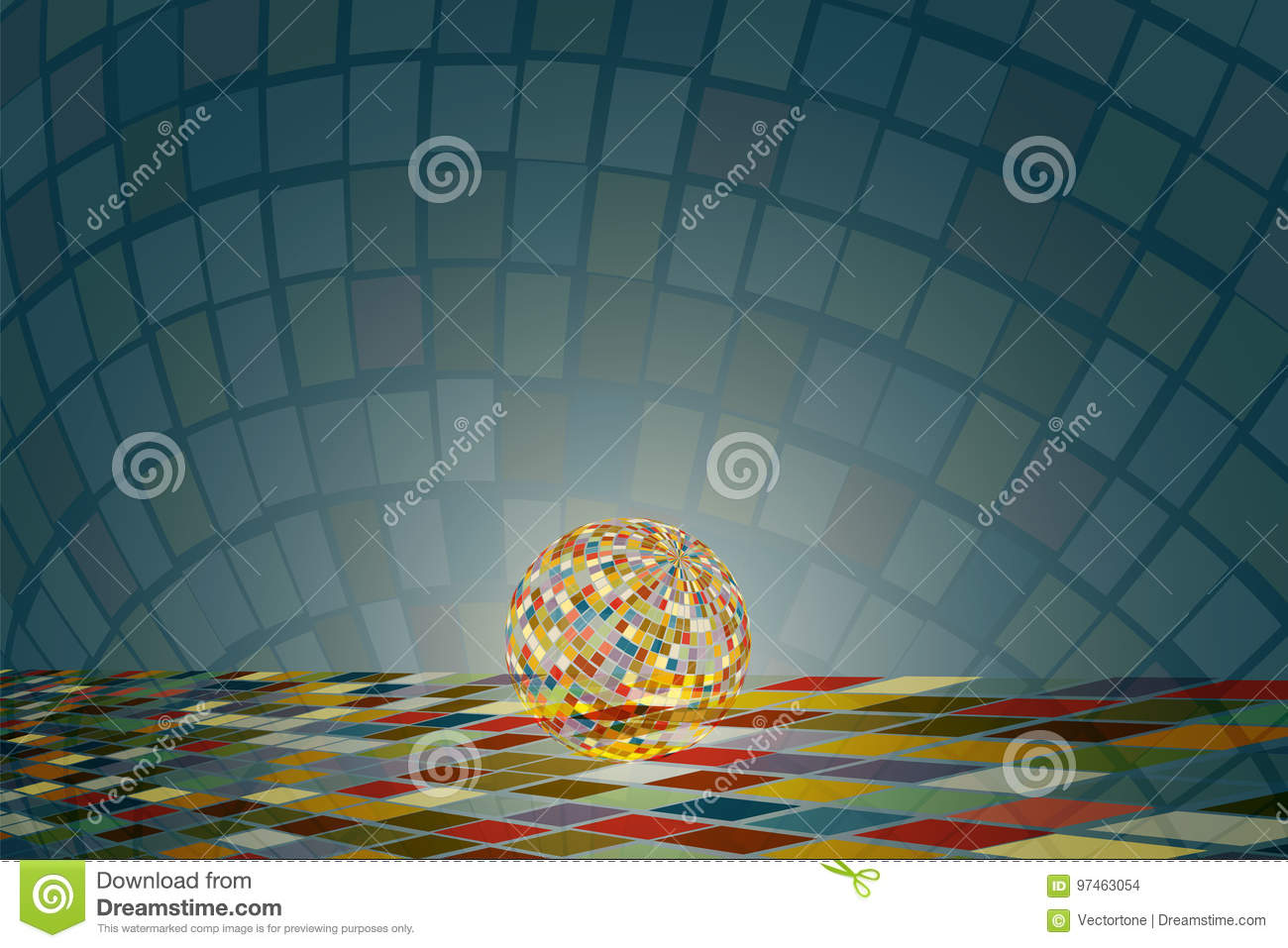 Sparkling Disco Ball On The Colorful Square Tile Floor With Colorful