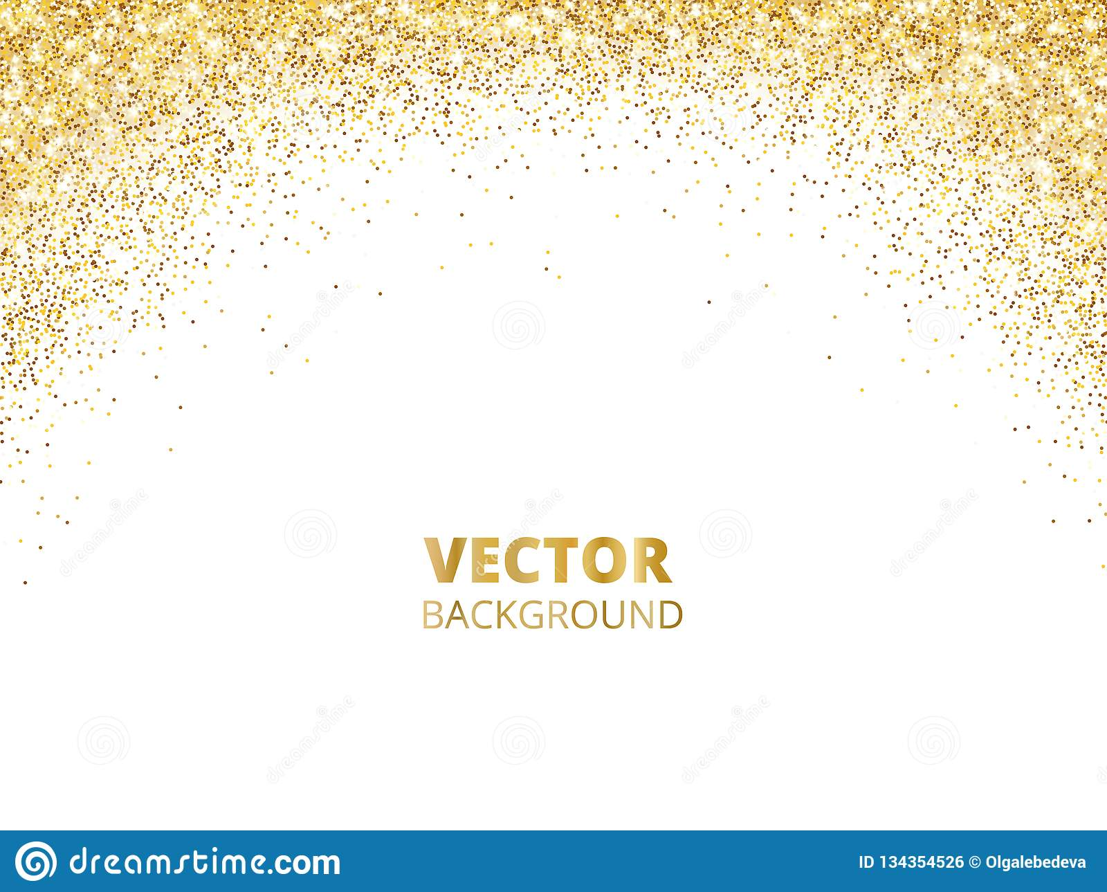Sparkling Glitter Border Frame Falling Golden Dust