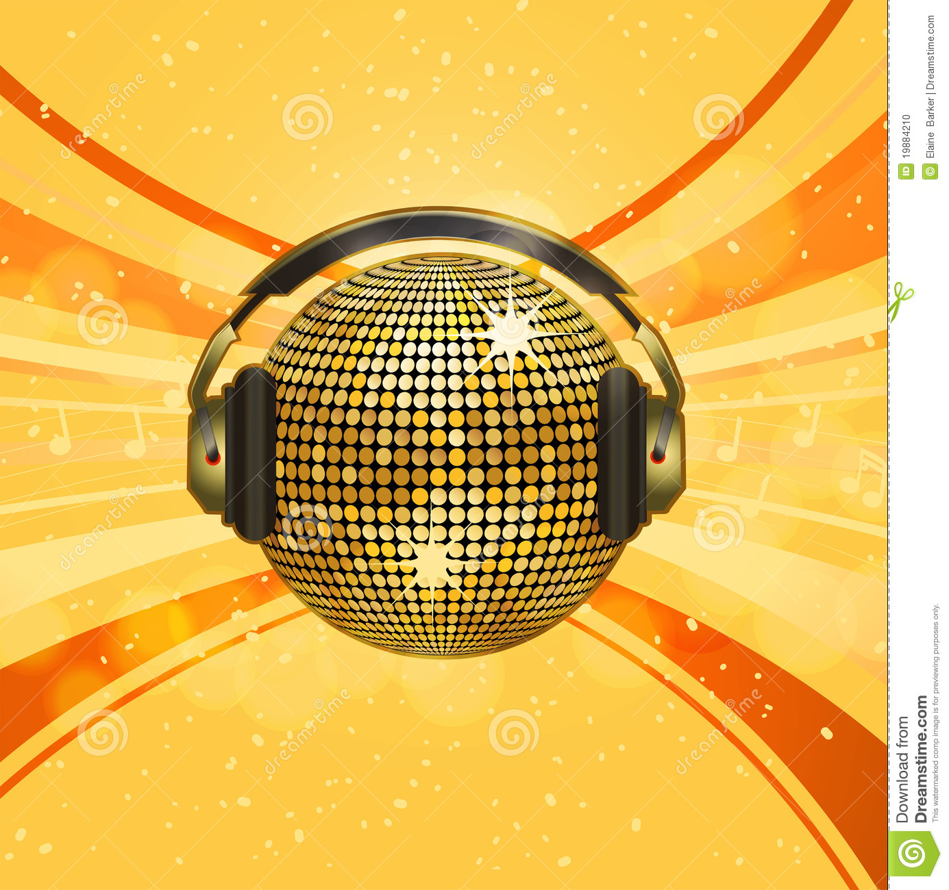Sparkling Gold Disco Ball And Headphones Stock Vector