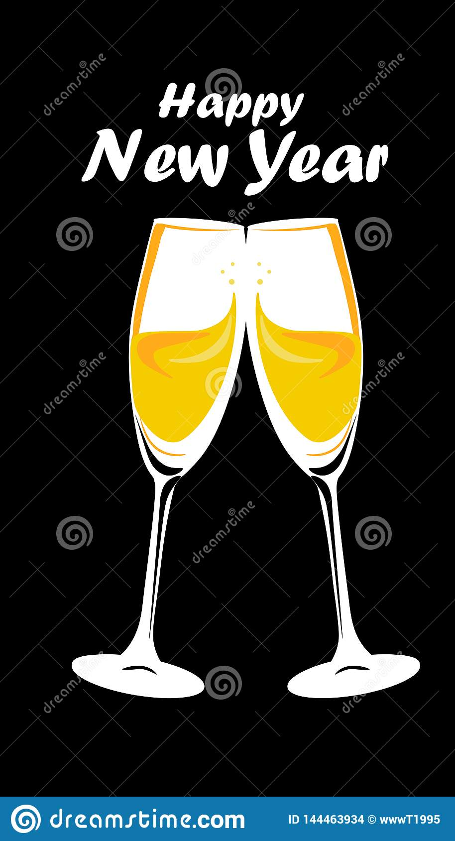 Web. Sparkling gold silver champagne glasses. Vector illustration. Happy New Year Lettering concept. Place for your text message