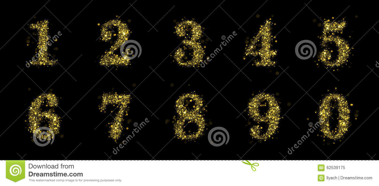 Sparkling Golden Glitter Sequins Numbers Set 0 To 1 Stock ...