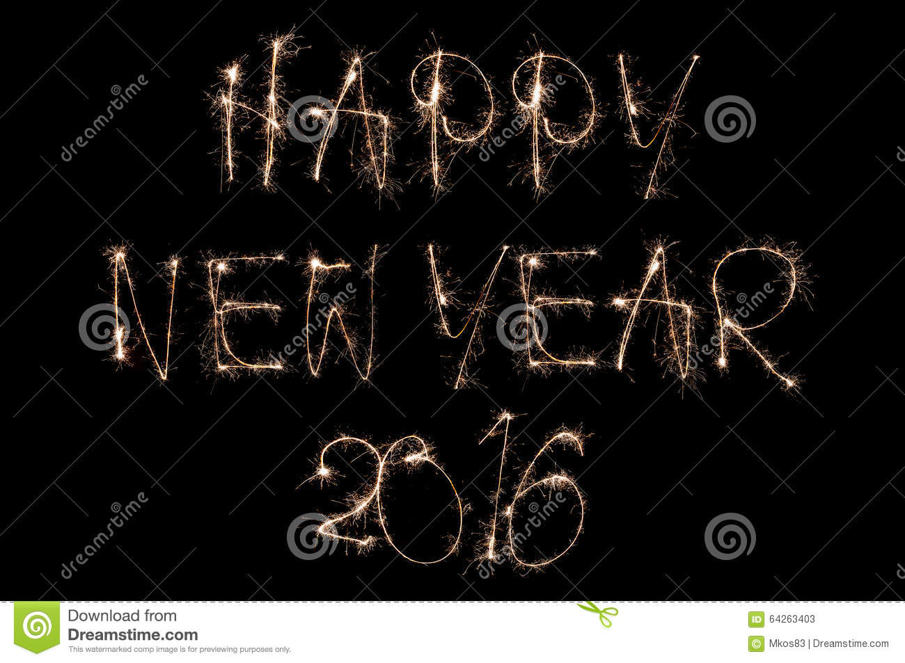 Sparkling happy new year 2016 text on black background