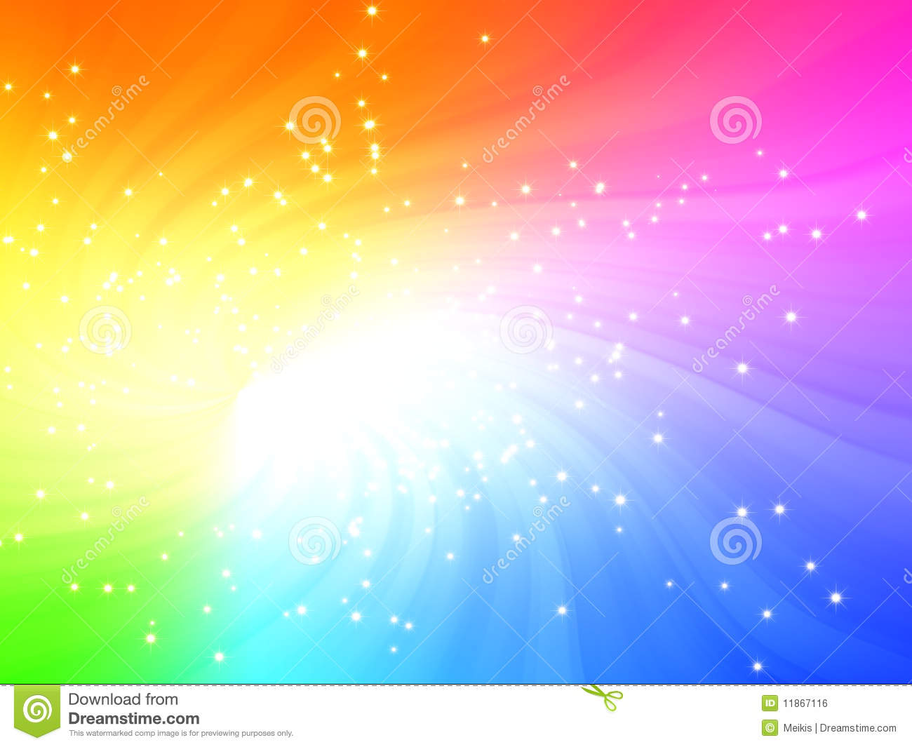sparkling rainbow colors light burst with stars stock