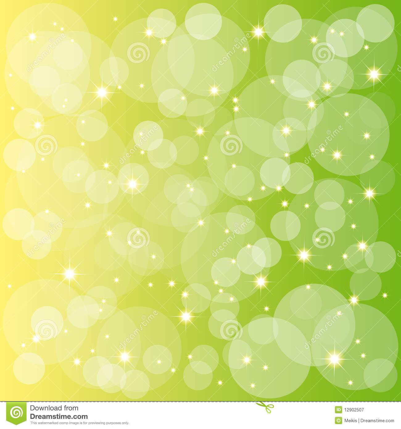 Sparkling Stars Bubbles On Green Yellow Background Stock ...