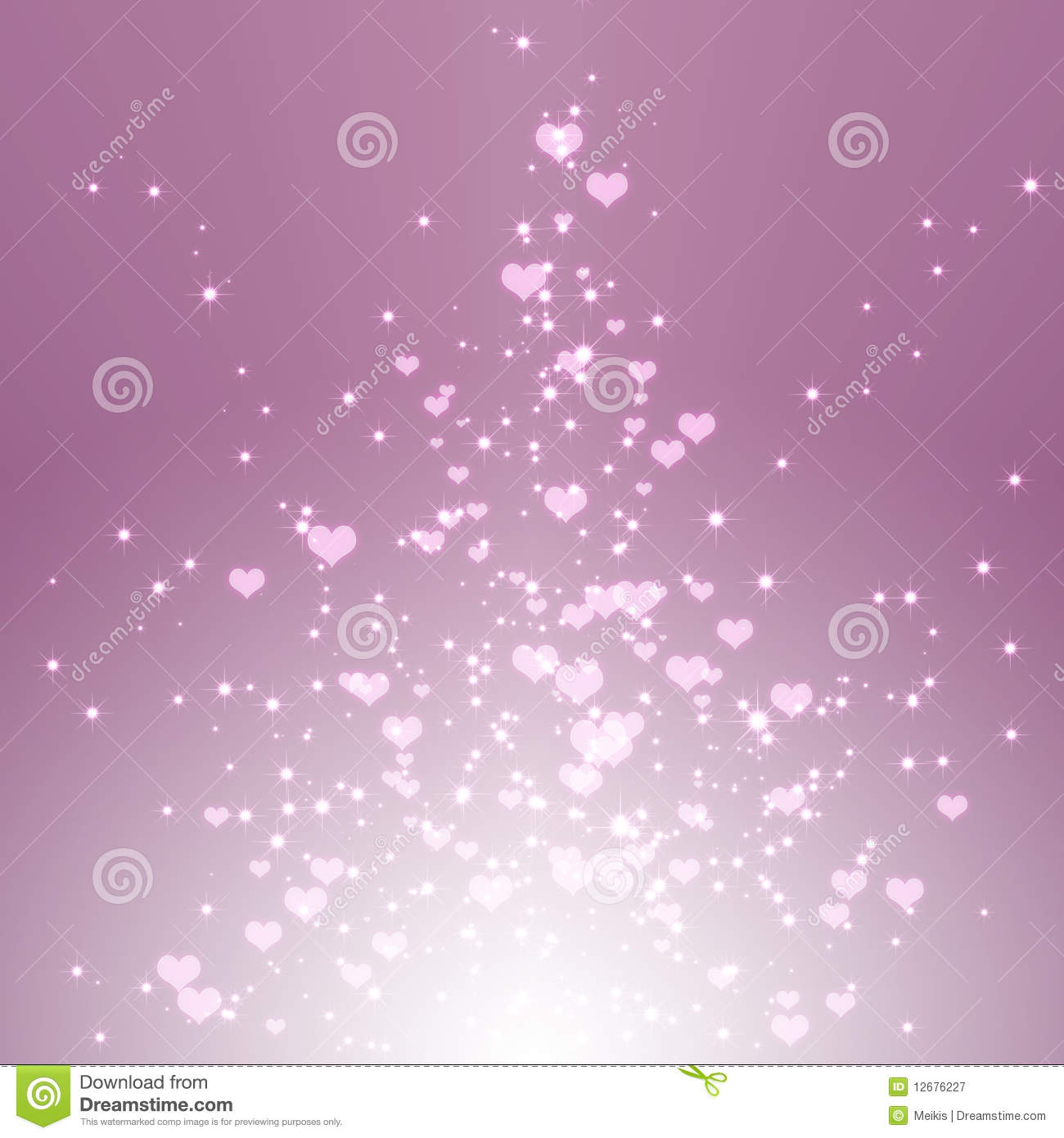 Sparkling Stars Hearts On Purple Light Burst Stock ...